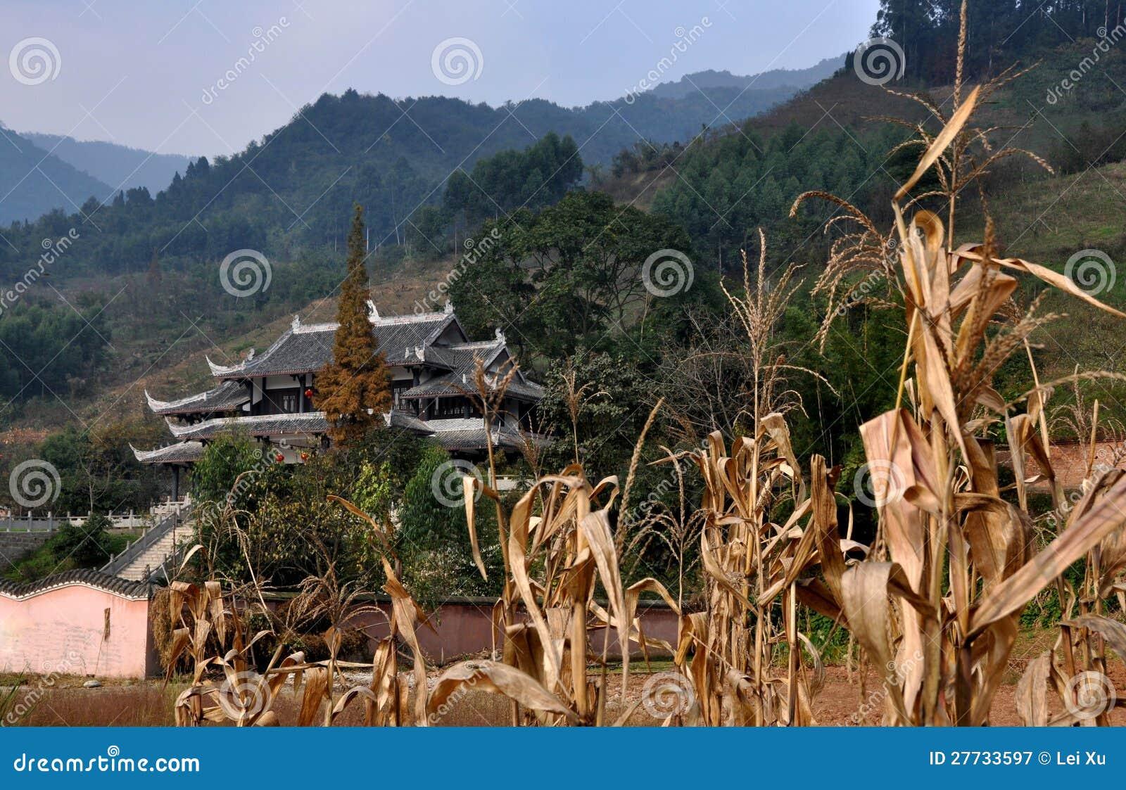 Pengzhou, China: Mais-Stiele und Taoist-Tempel