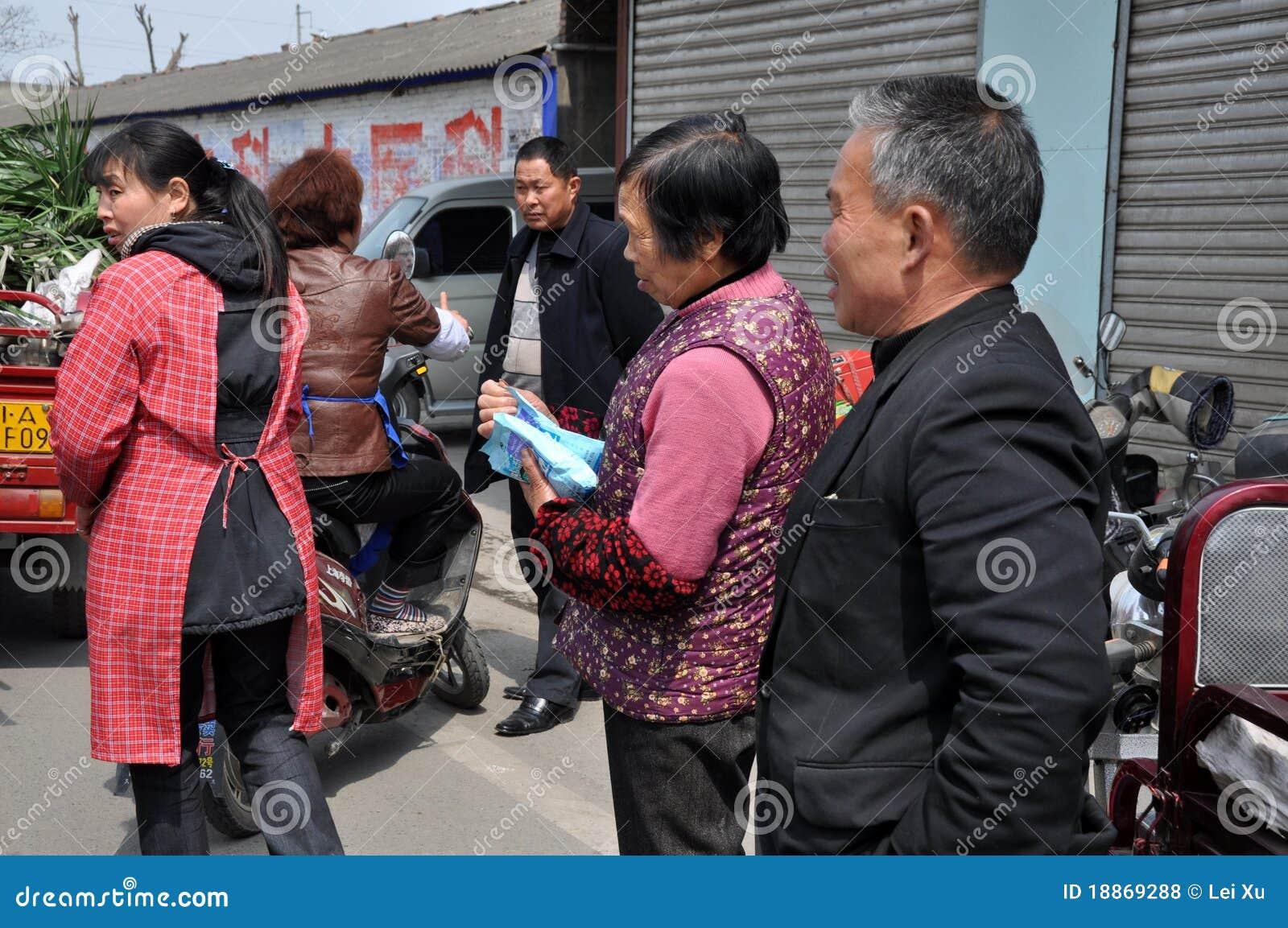 Pengzhou, China: People Buying Salt