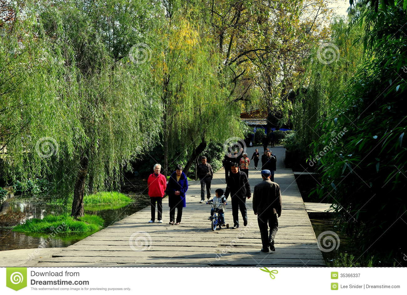 Pengzhou China People Strolling In Park Editorial