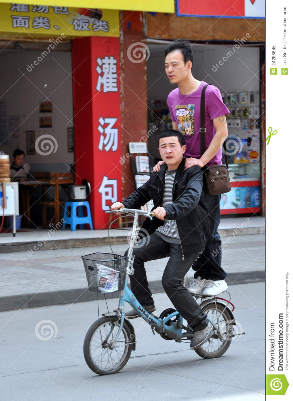 Pengzhou China Two Men On A Bicycle Editorial Image