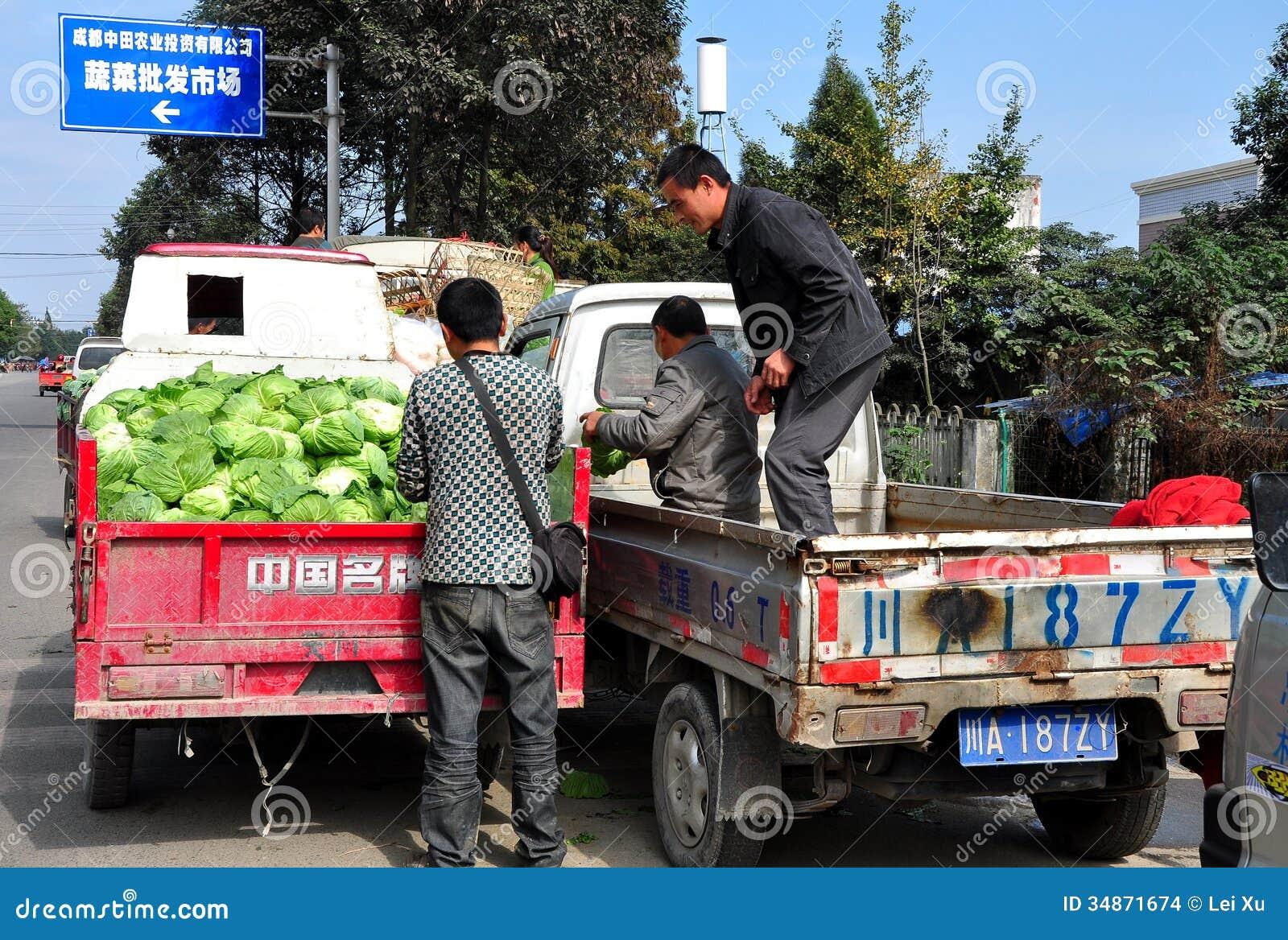 Pengzhou, Chine : Agriculteurs au marché coopératif