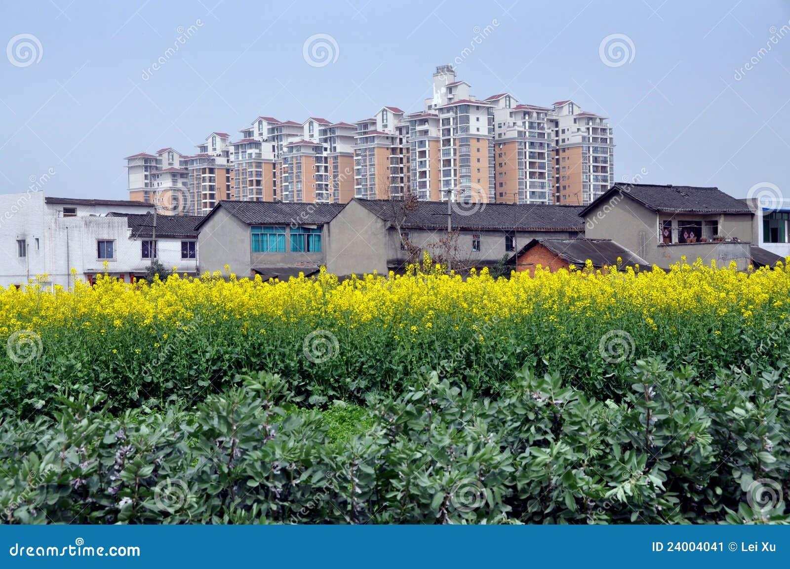 Pengzhou, Chine : Vieilles fermes et Appartement moderne. Constructions