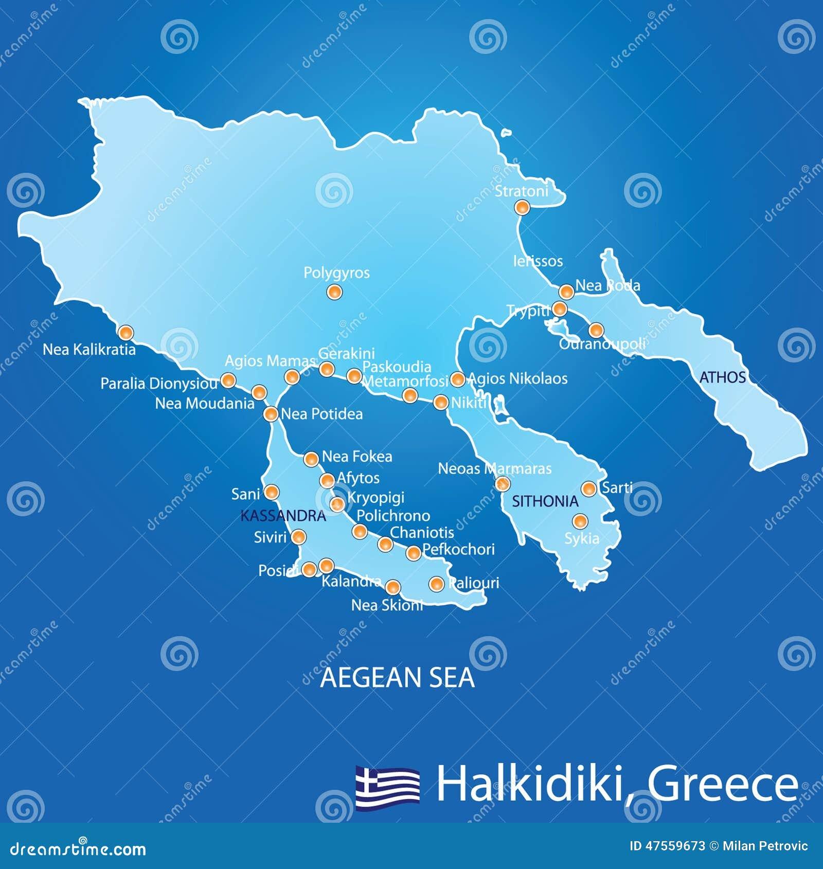 Peninsula Of Halkidiki In Greece Map Stock Vector   Illustration
