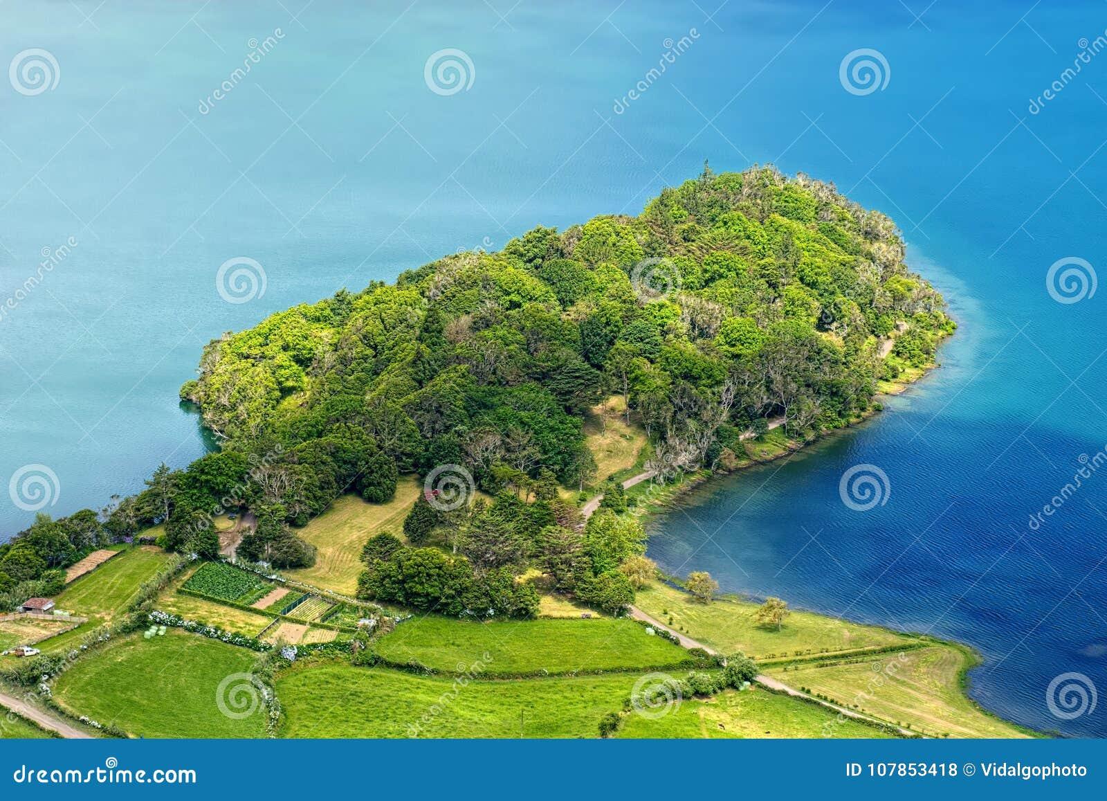 Peninsula of Lagoa Azul lake, Sao Miguel island, Azores, Portugal