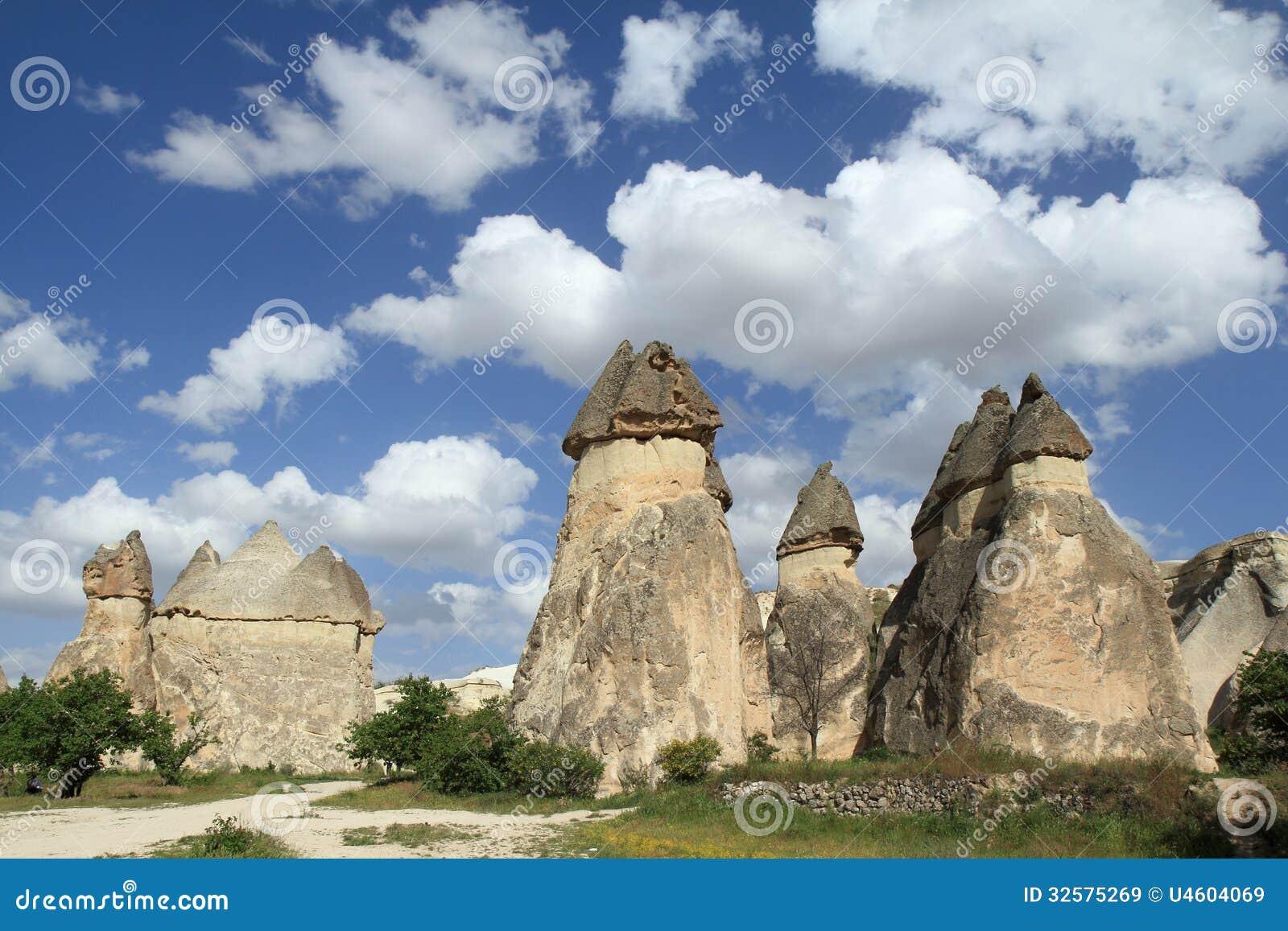 Penis gevormde steen in de Liefdevallei, rotsvormingen in Cappadocia