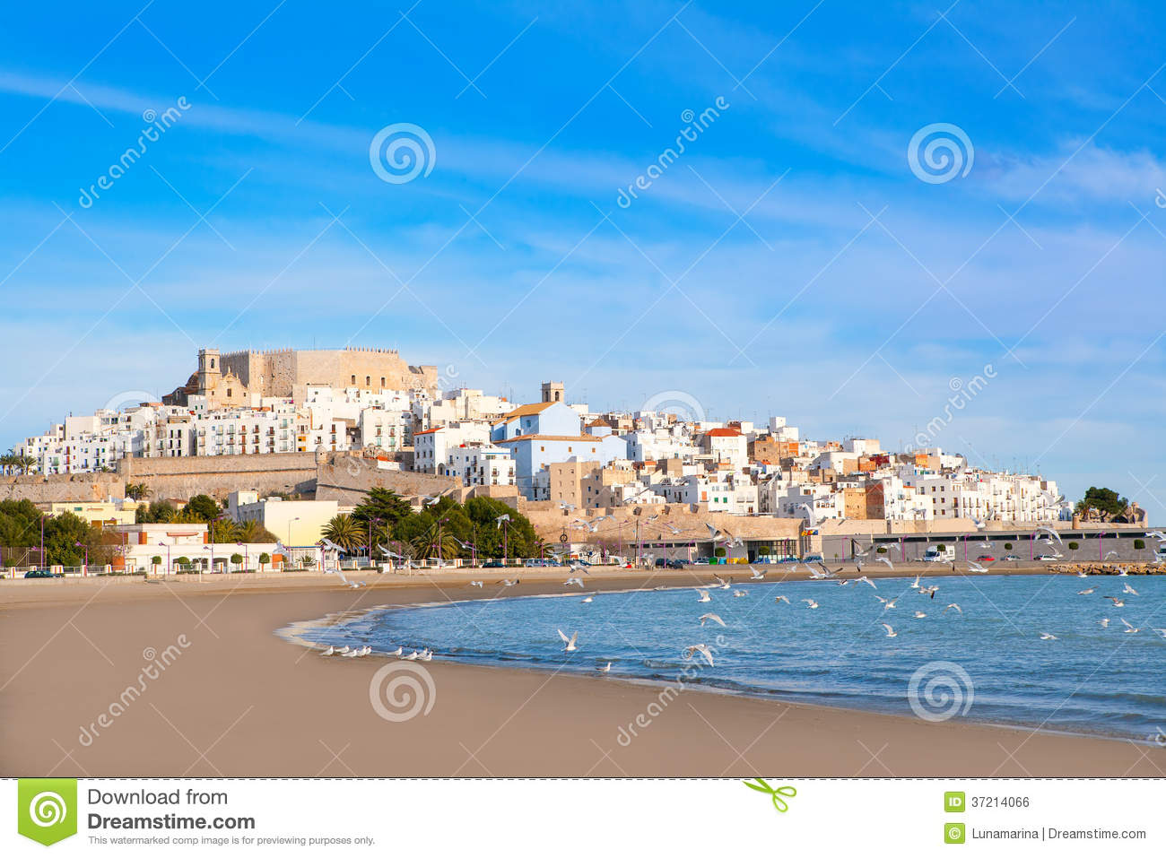 Peniscola Spain  City new picture : Peniscola Castle And Beach In Castellon Spain Royalty Free Stock Image ...