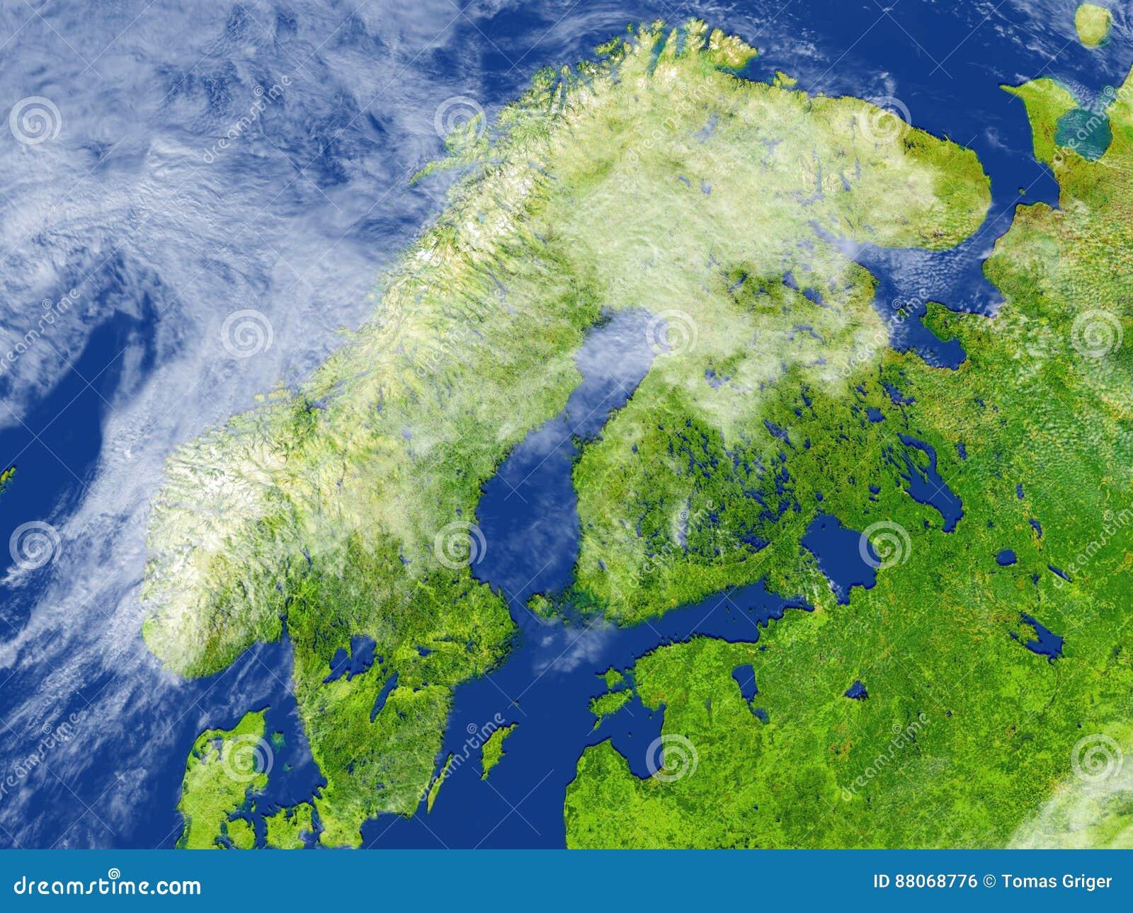 Penisola Scandinava Su Pianeta Terra Illustrazione Di Stock
