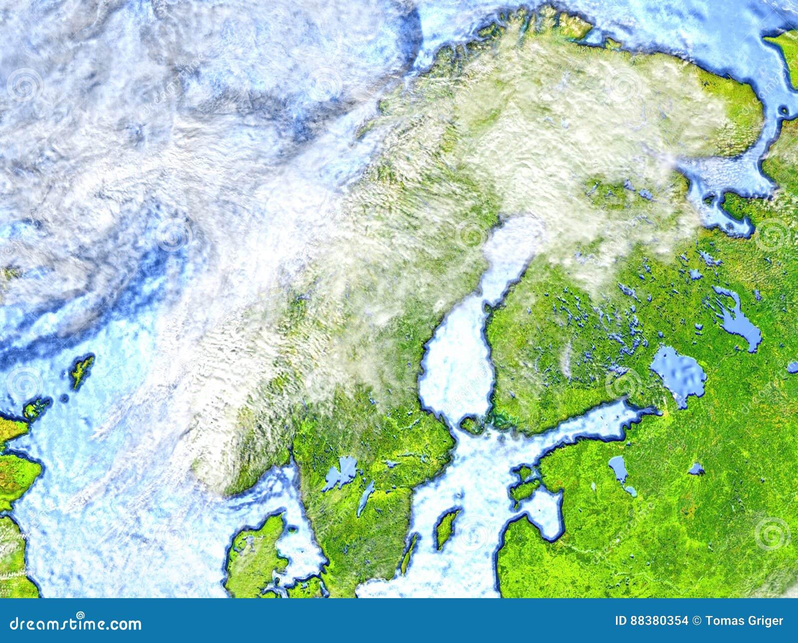 Penisola Scandinava Su Terra Fondo Delloceano Visibile