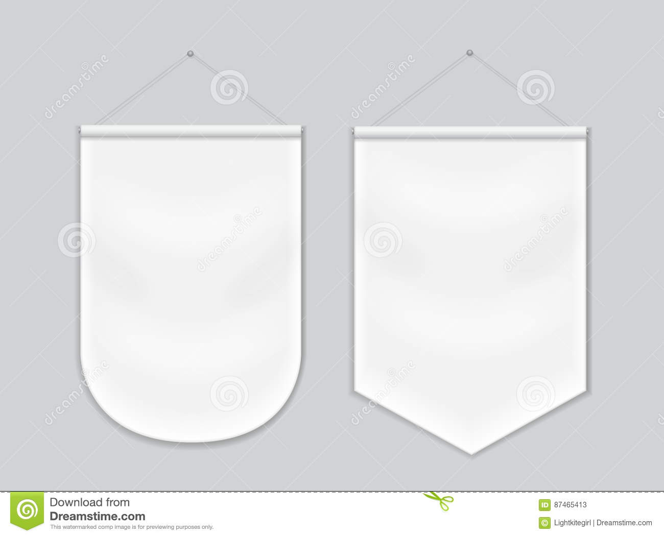 White pennant template hanging on wall set vector vector for Template for hanging pictures