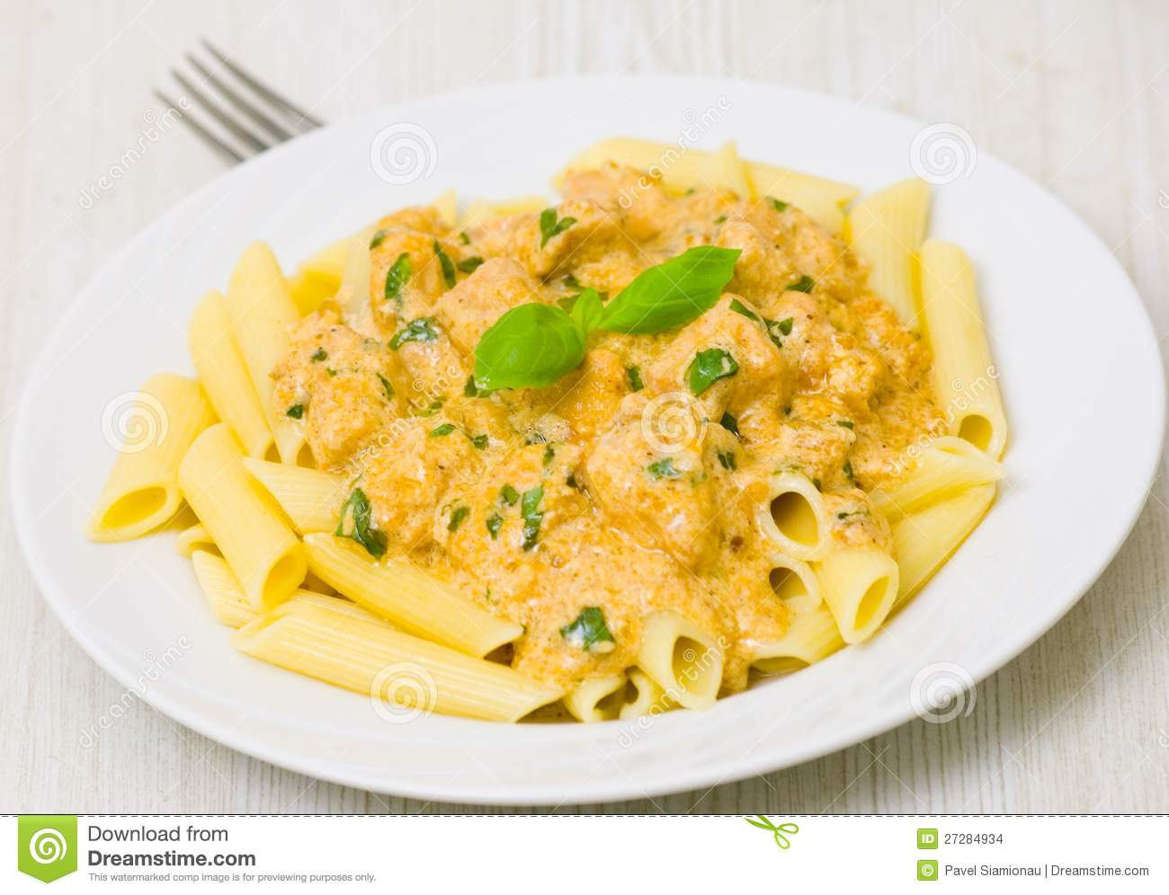 Penne Pasta With Chicken Meat, Cream Sauce Stock Images - Image ...