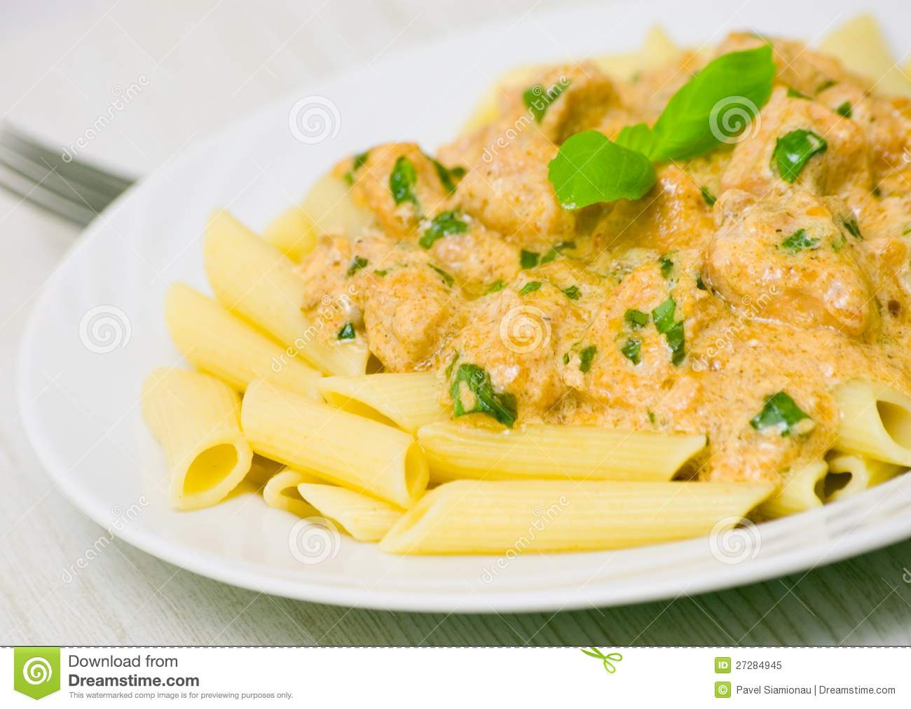 Penne Pasta With Chicken Meat, Cream Sauce Royalty Free Stock Photo ...