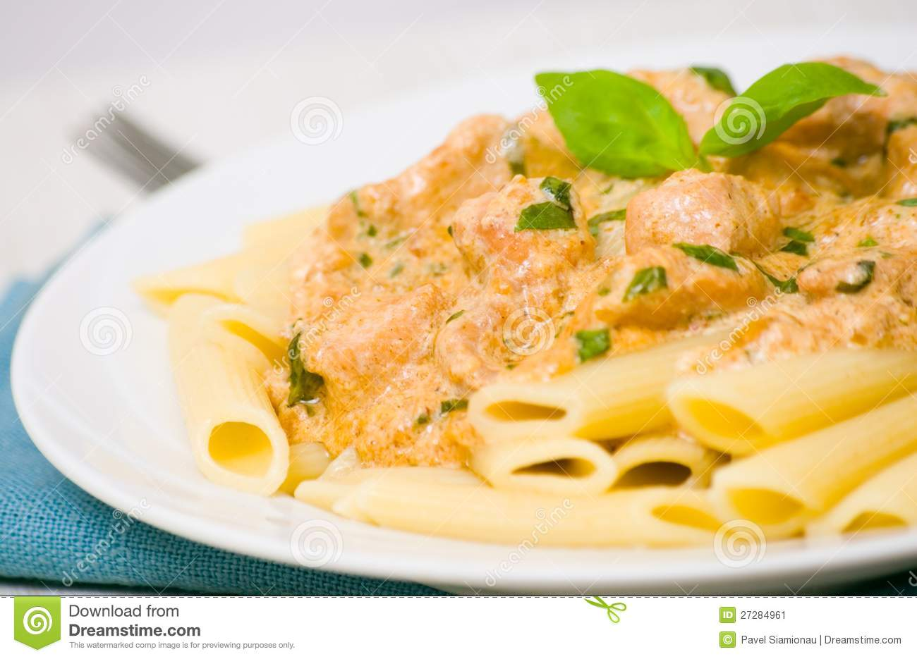 Penne Pasta With Chicken Meat, Cream Sauce Stock Image - Image ...