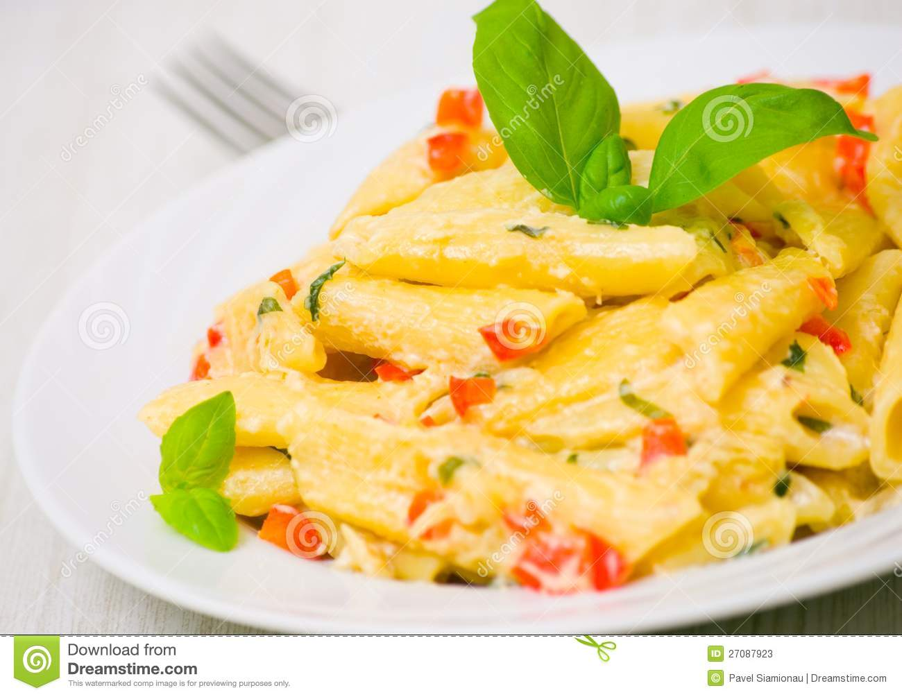 More similar stock images of ` Penne pasta with cream sauce `