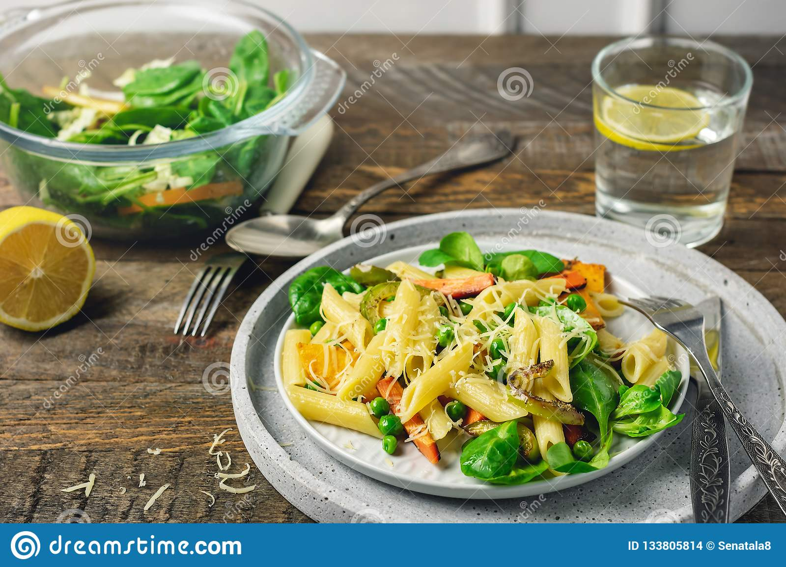 Penne pasta with grilled vegetables