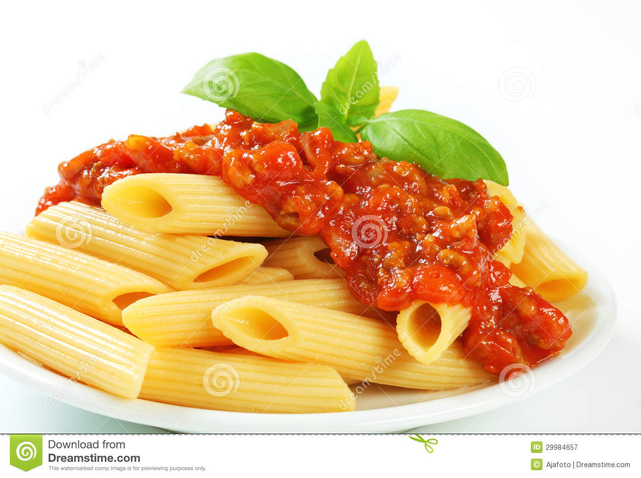 Penne With Meat Tomato Sauce Royalty Free Stock Photography - Image ...