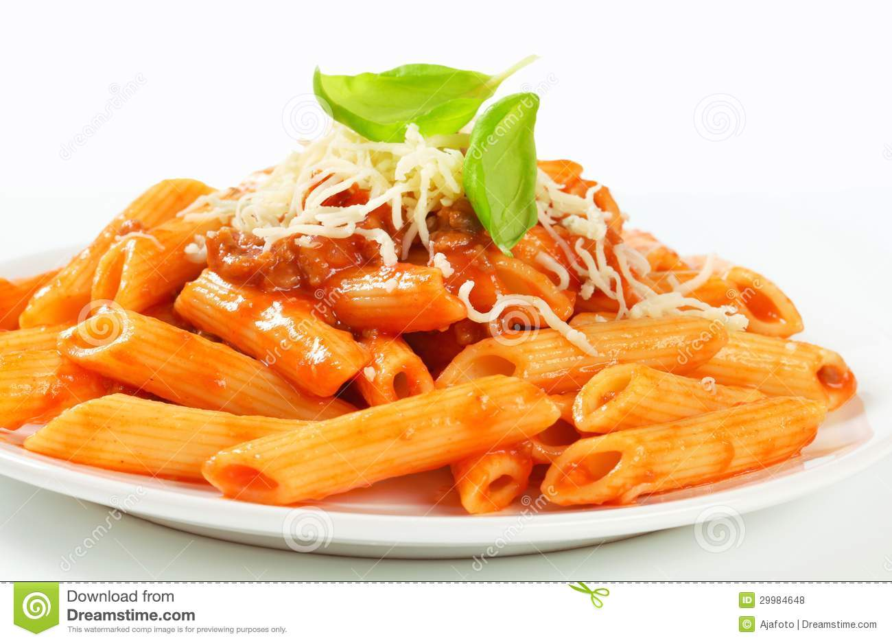 Penne pasta with meat-...