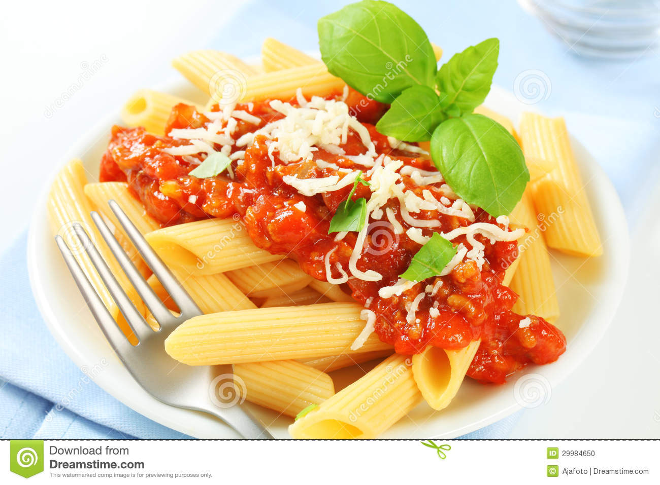 Penne With Meat Tomato Sauce Stock Photo - Image: 29984650