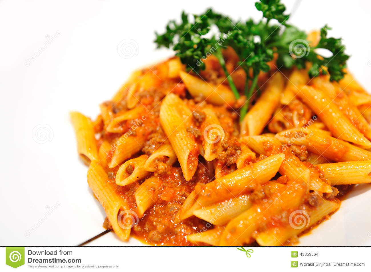 Penne Pasta With Meat Sauce Stock Photo - Image of ...