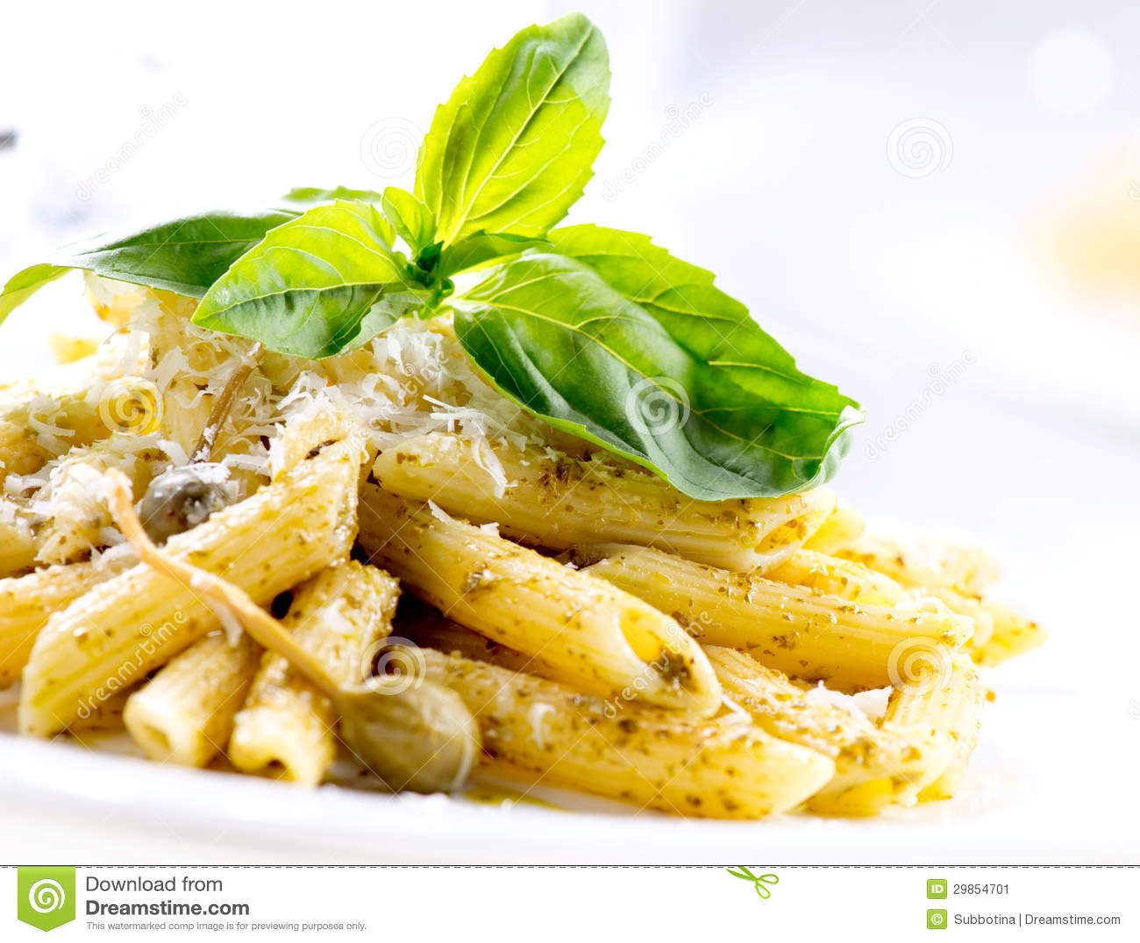 Penne pasta with pesto sauce stock image image 29854701 - Italian cuisine pasta ...