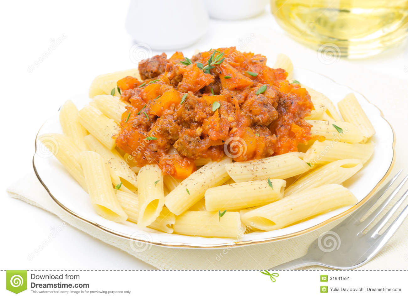 Penne Pasta With Sauce Of Beef, Tomato, Pumpkin On A Plate Stock Image ...