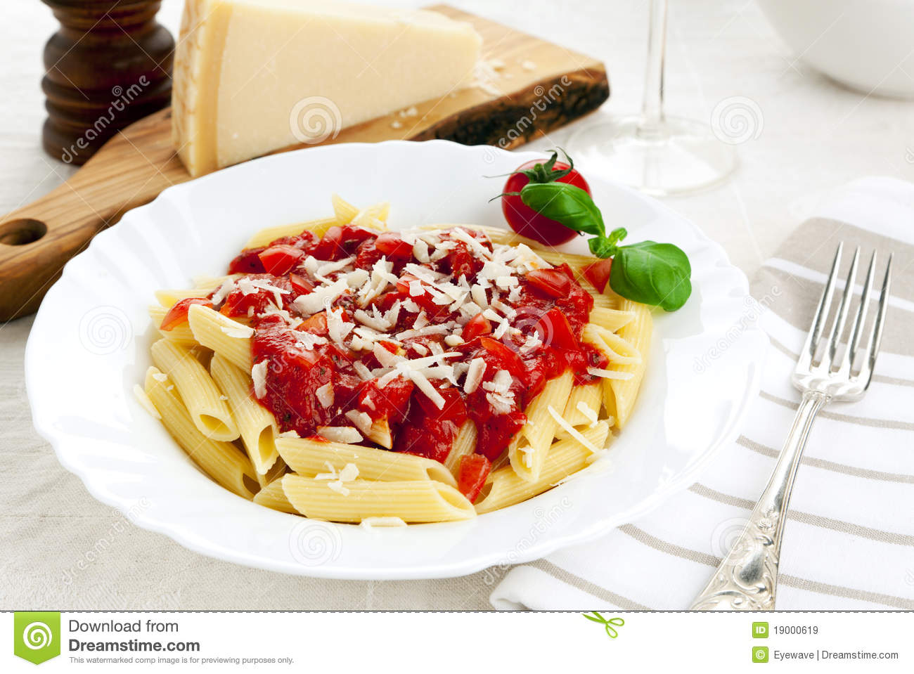 Penne Pasta With Tomato Sauce And Parmesan Cheese Stock ...