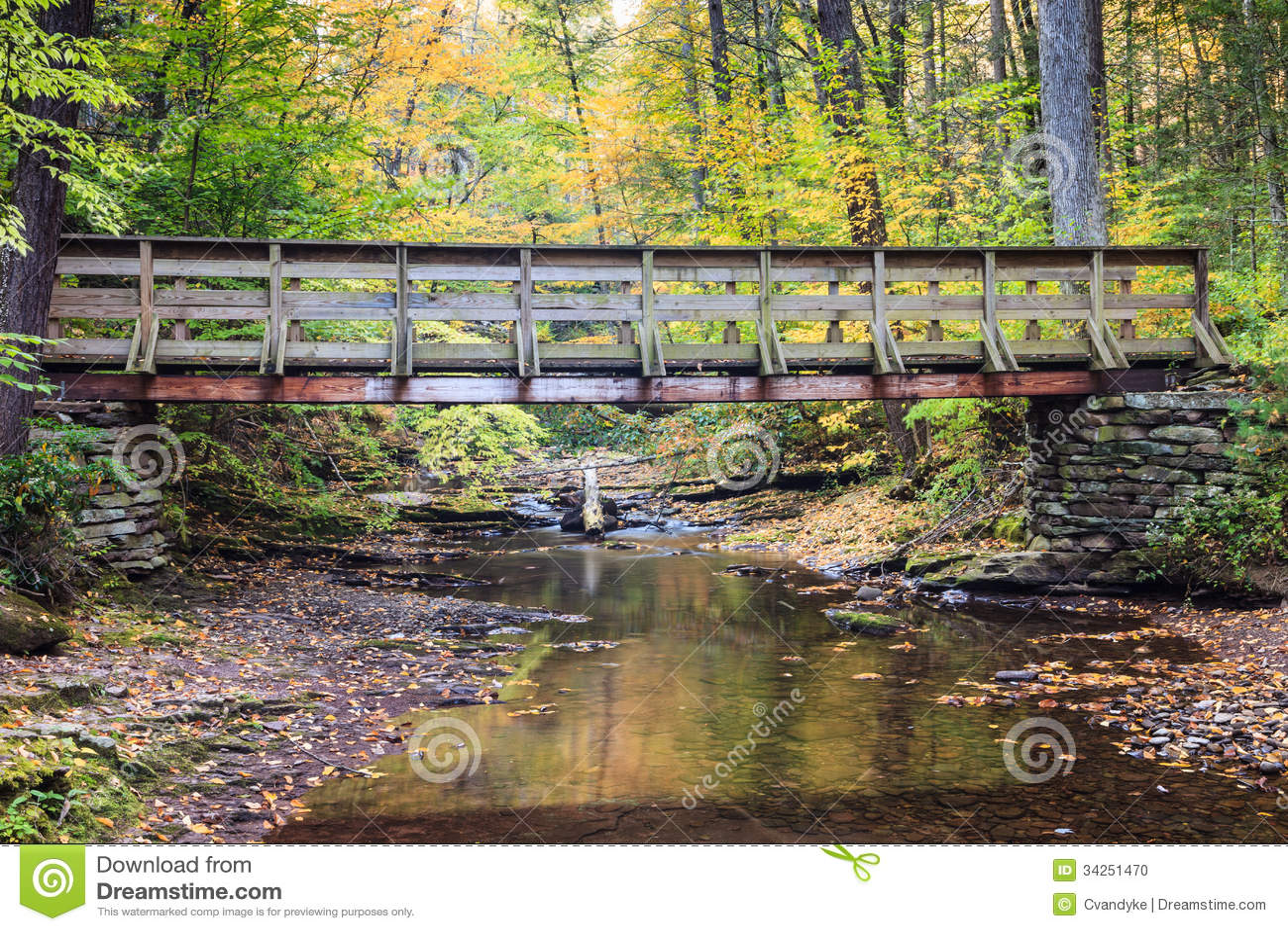 Pennsylvania Bridge Over Creek in Autumn