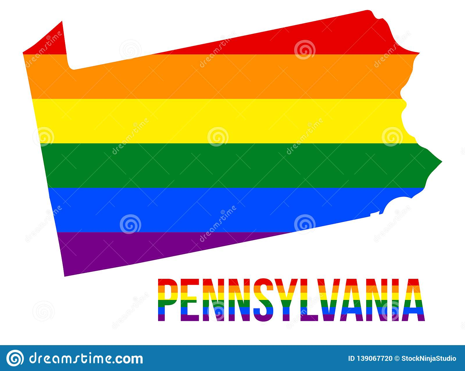 Pennsylvania State Map in LGBT Rainbow Flag Comprised Six Stripes With Pennsylvania LGBT Text