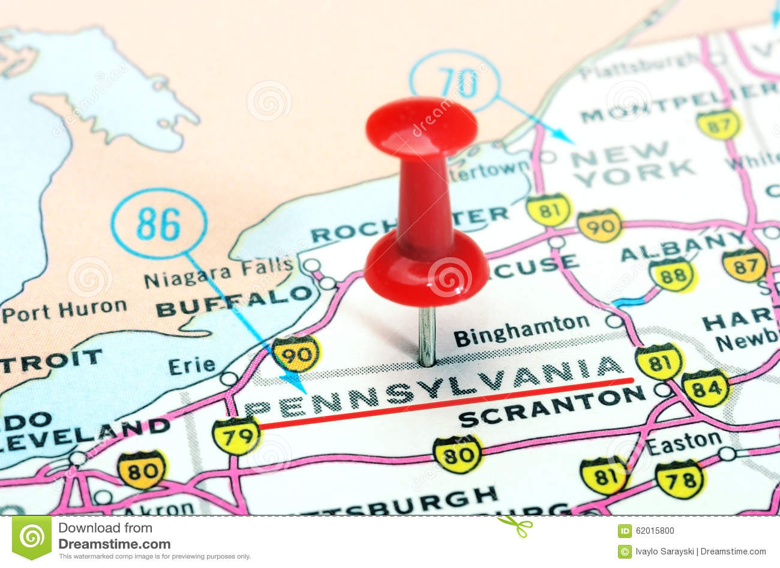 Pa Usa Map.Pennsylvania State Usa Map Stock Photo Image Of Pushpin 62015800