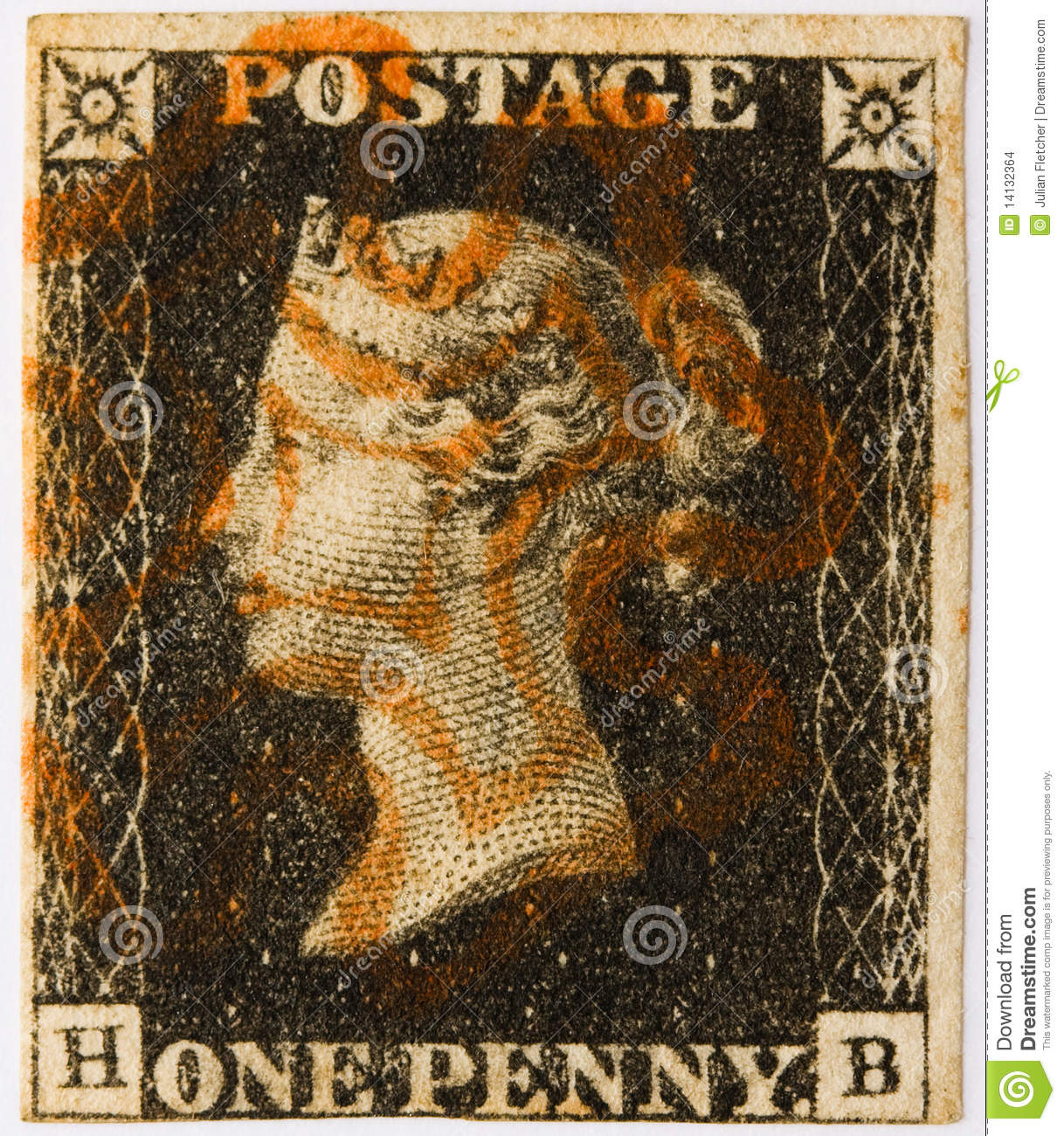 Penny Black with red postmark