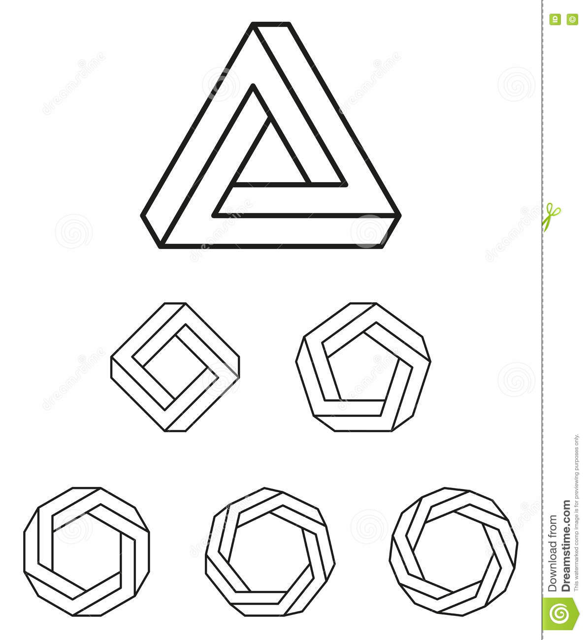 Penrose Triangle And Polygons Outline Stock Vector - Illustration of ... for Triangle Objects Clipart Black And White  54lyp