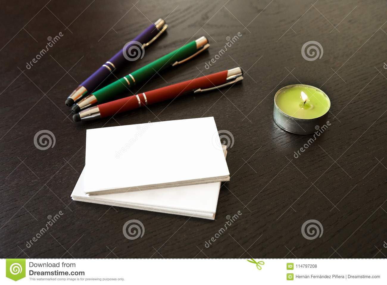 Pens and business cards stock photo. Image of ideas - 114797208