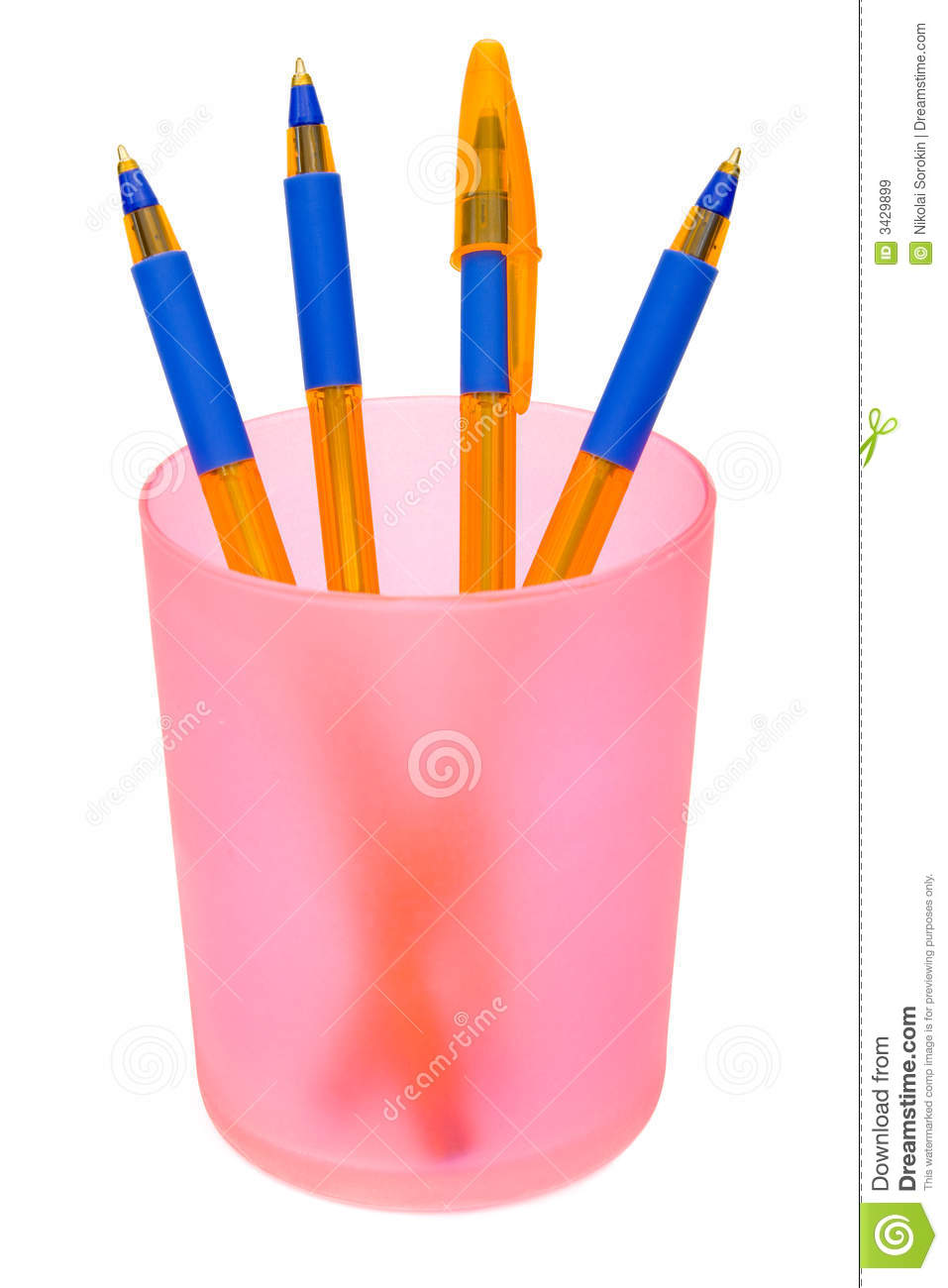Pens in container