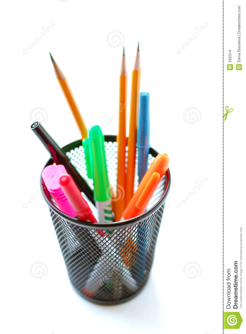 Pens And Pencils In Pencil Holder Stock Images - Image: 592014
