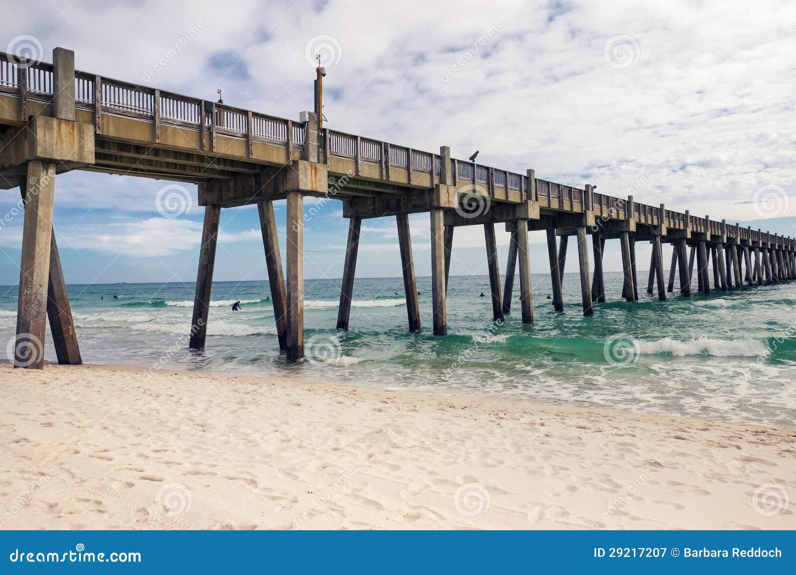 Pensacola beach fishing pier florida royalty free stock for Beach fishing florida