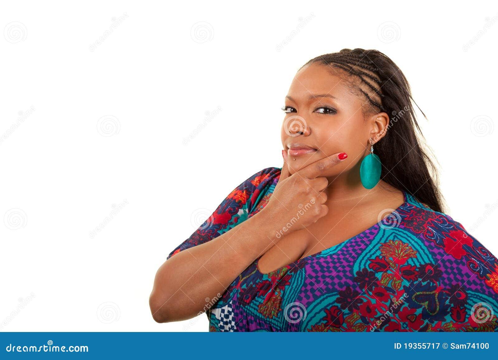 Pensamento bonito da mulher do americano africano