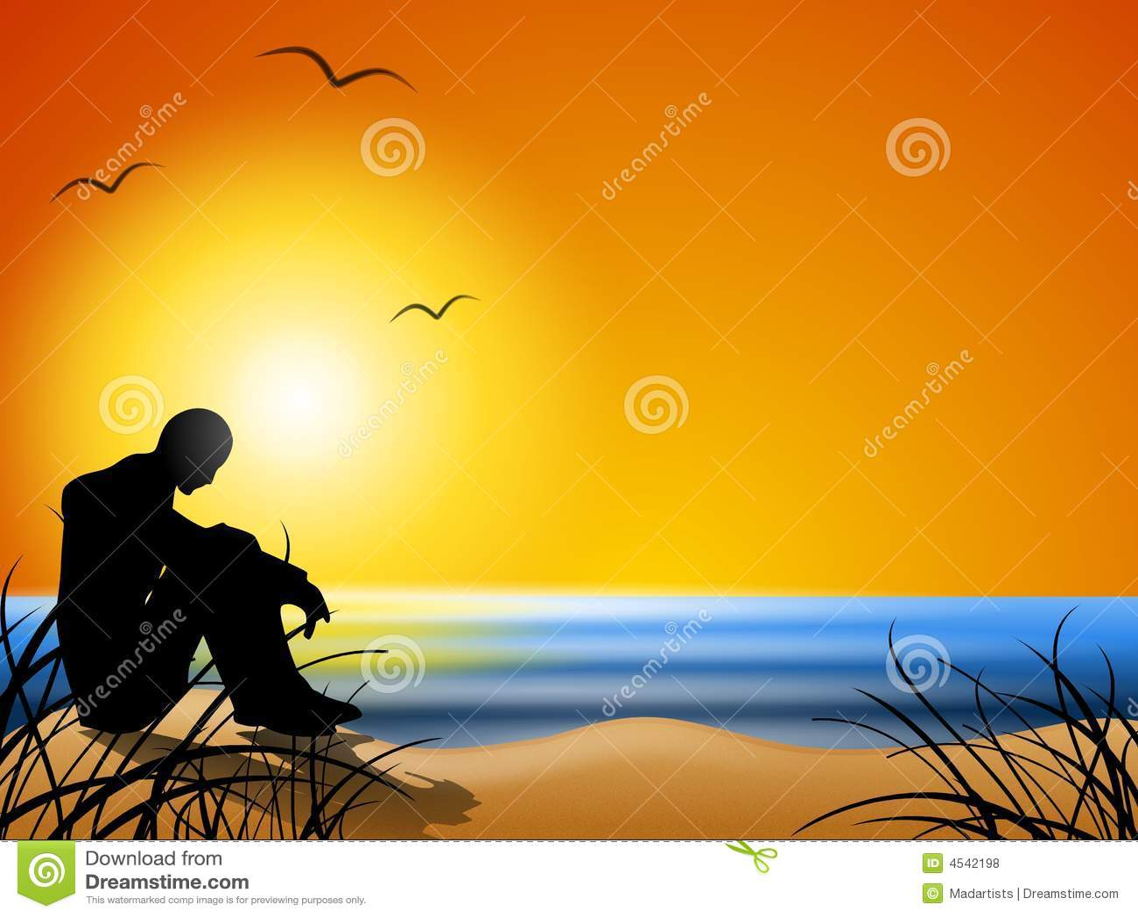 Pensamento na praia no por do sol