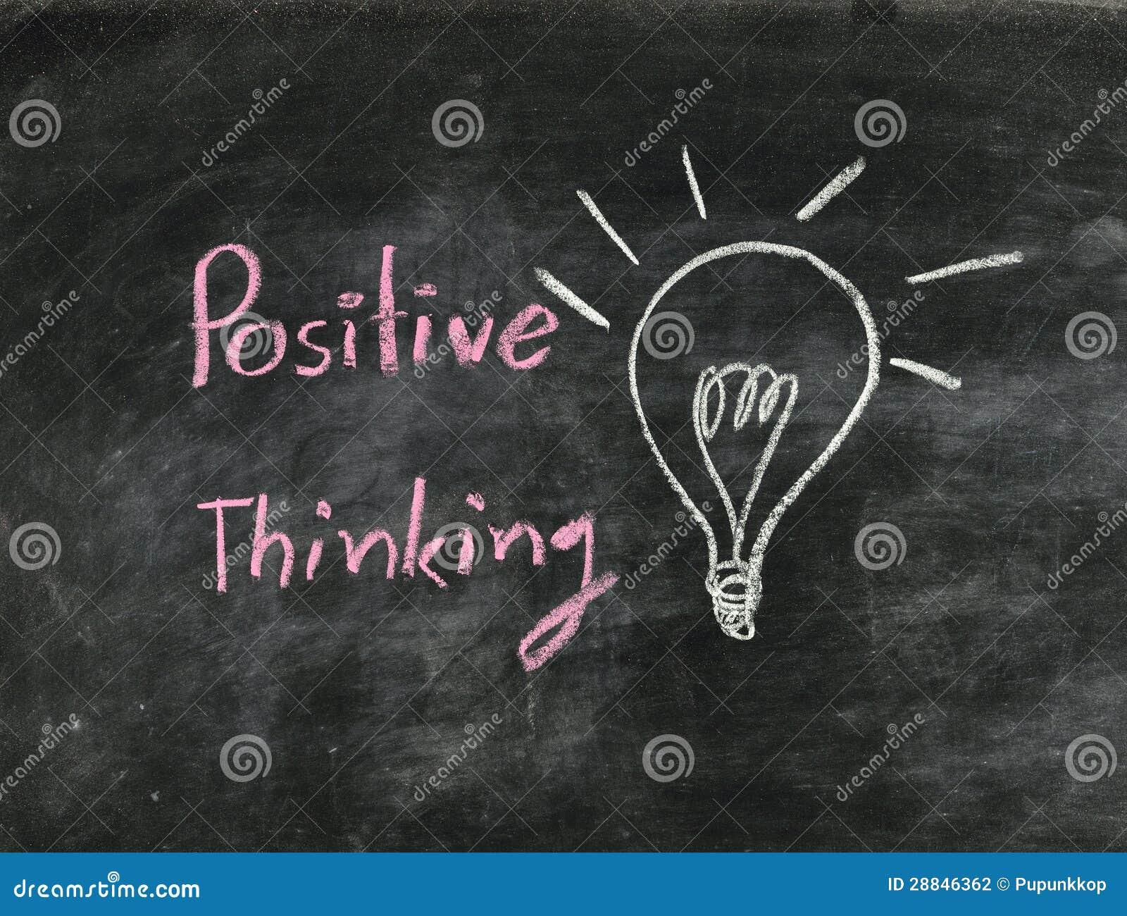 Pensamiento del positivo de la palabra y bombilla