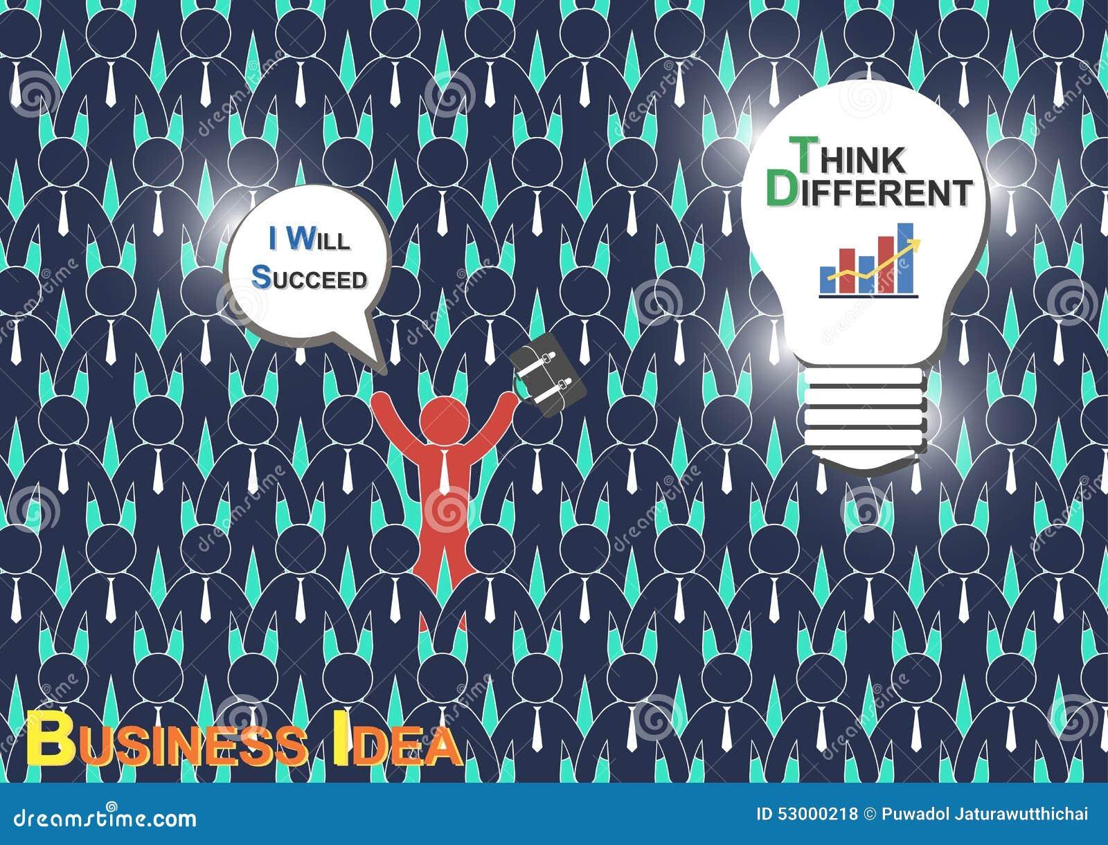 Pense diferente (ideia do negócio) (o homem de negócios tem a ideia diferente mas o outro homem de negócios ter não nenhuma ideia