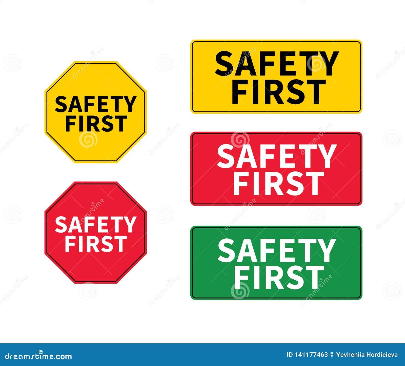 Pense o logotipo da segurança em primeiro lugar, ícone, símbolo Sinal do eps do vetor Forma octogonal e retangular da segurança e