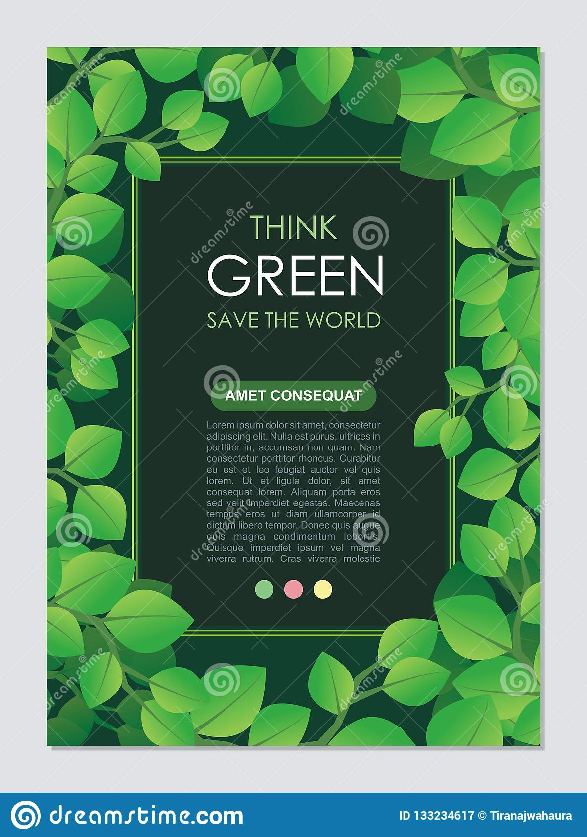 Pense o quadro e a beira verdes Vai o conceito verde das folhas
