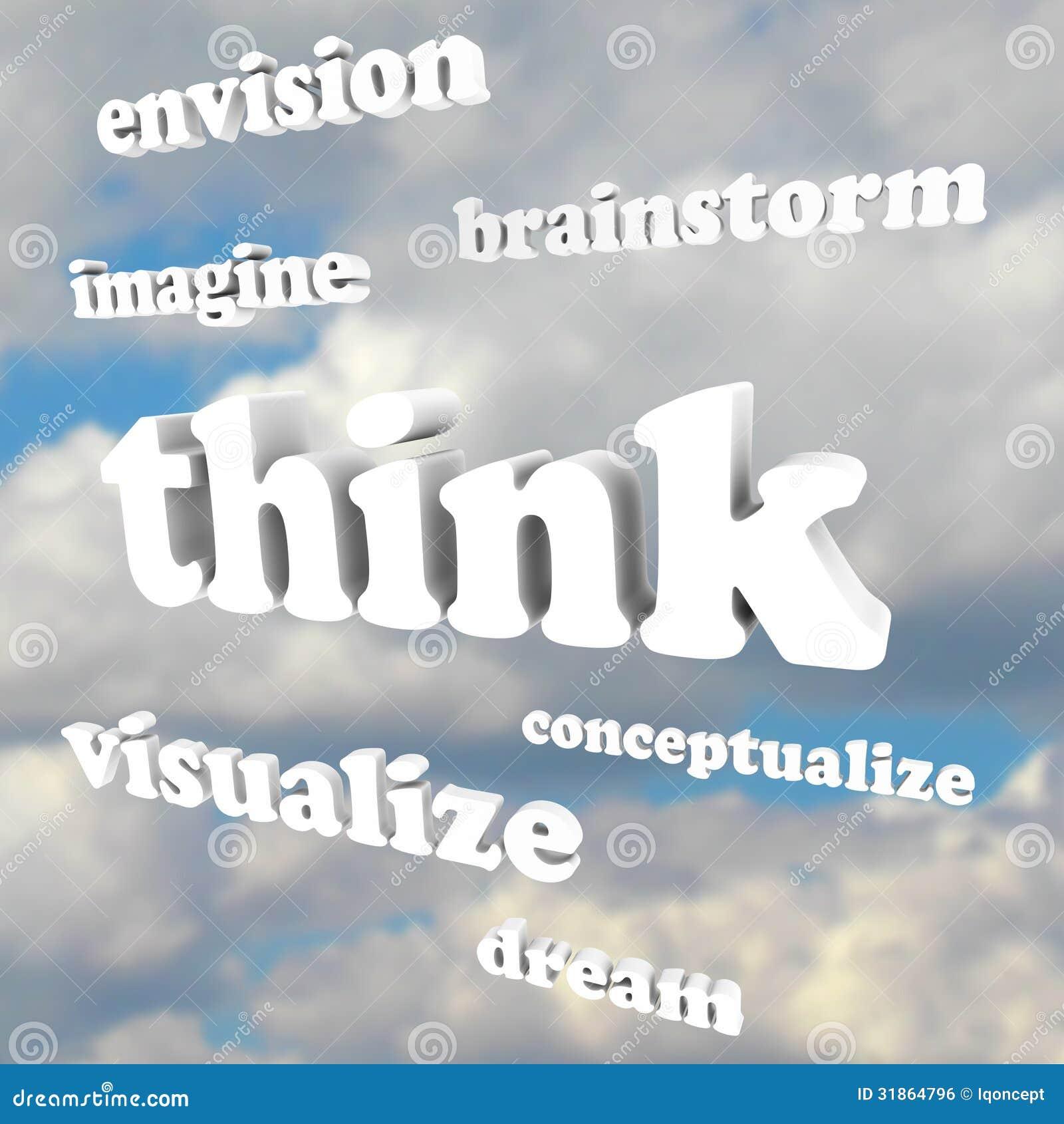 Pense palavras no céu - imagine ideias e sonhos novos