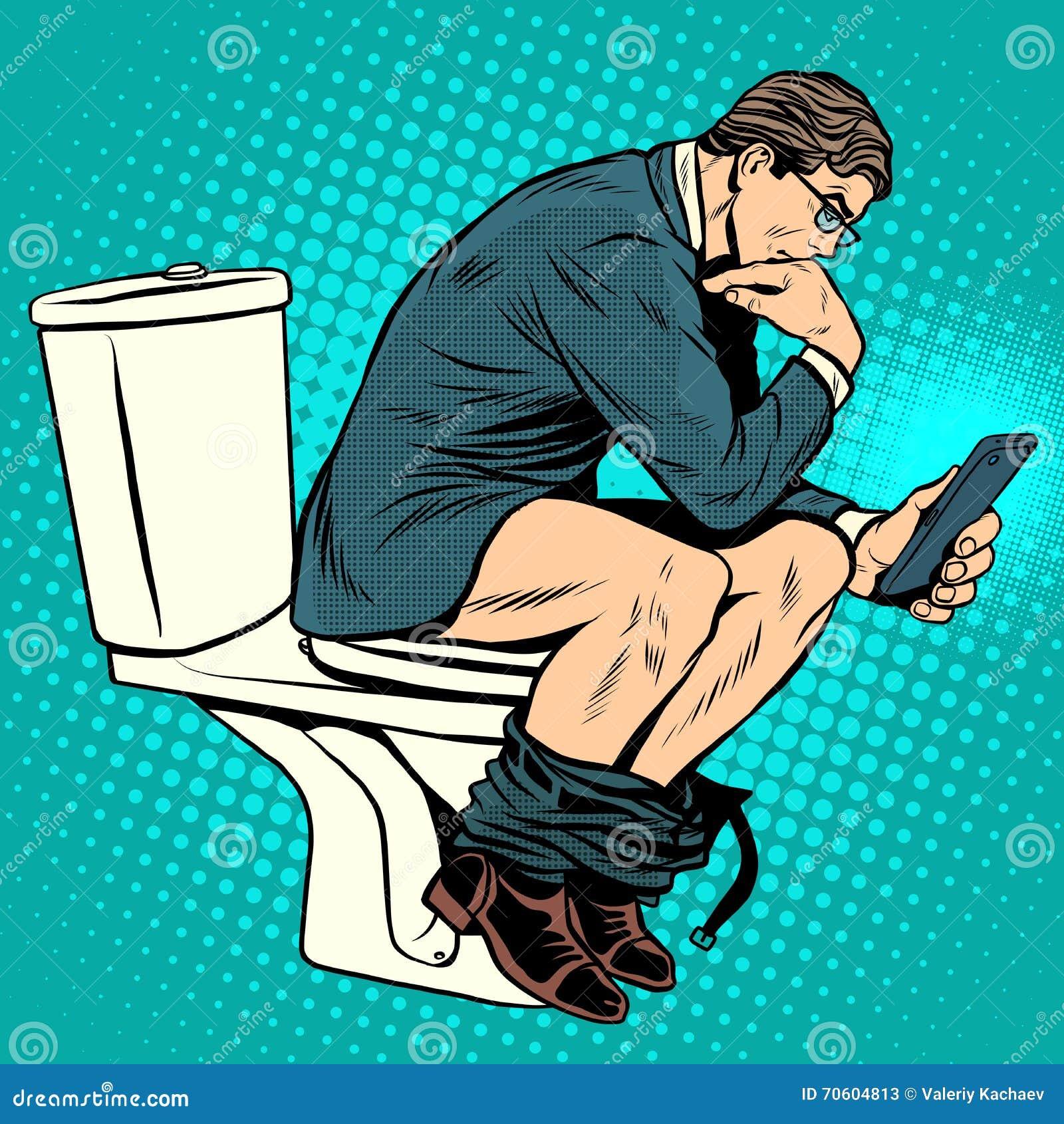 Penseur d homme d affaires sur la toilette