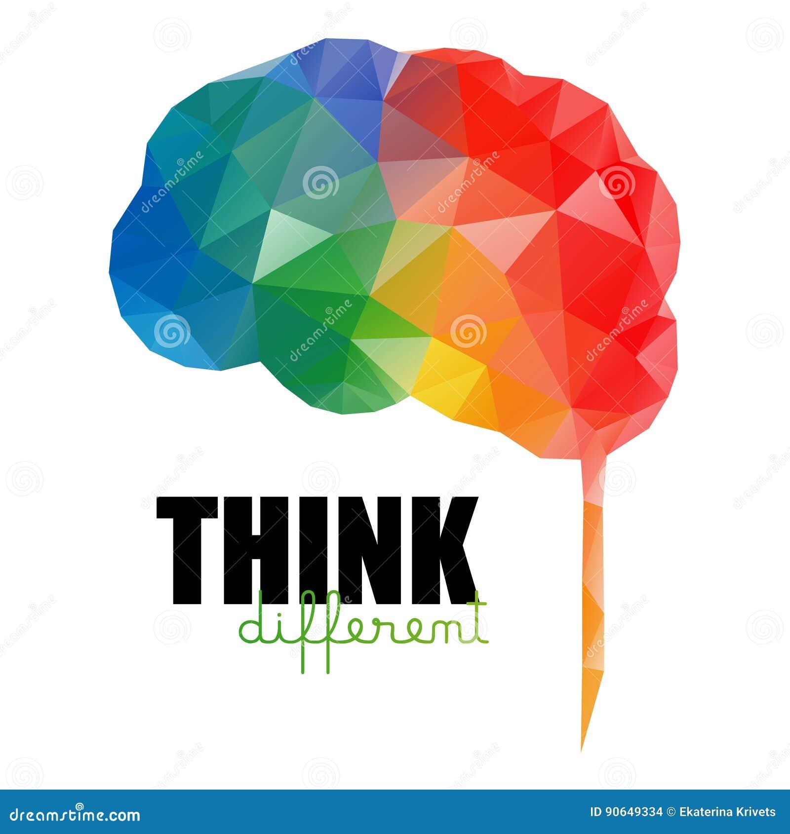 Pensez le concept différent Bas poly cerveau coloré