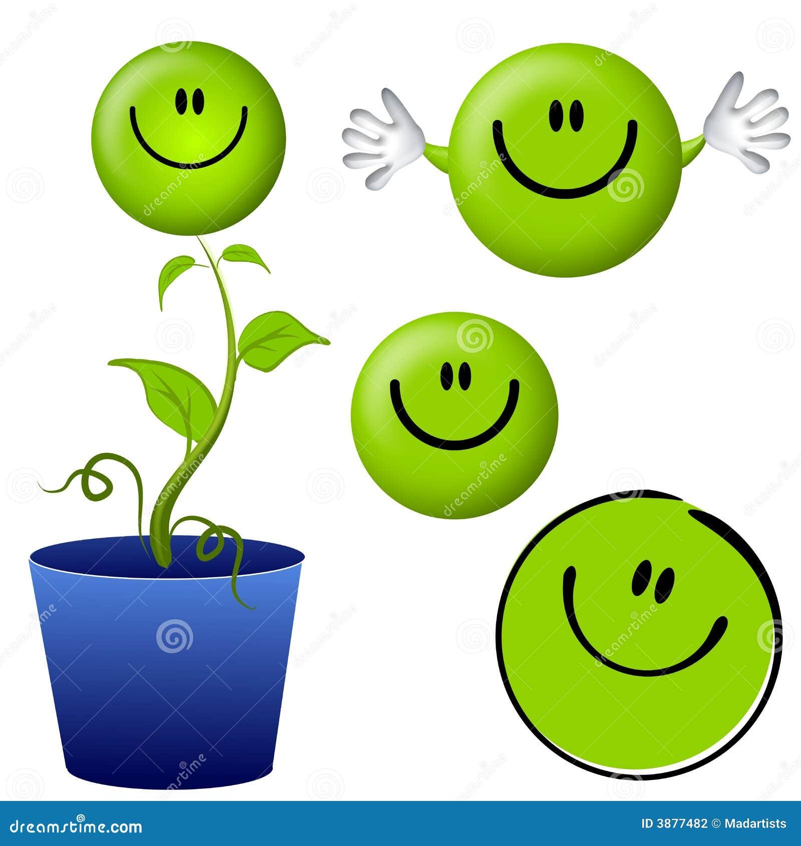 Pensi i personaggi dei cartoni animati verdi del fronte di smiley