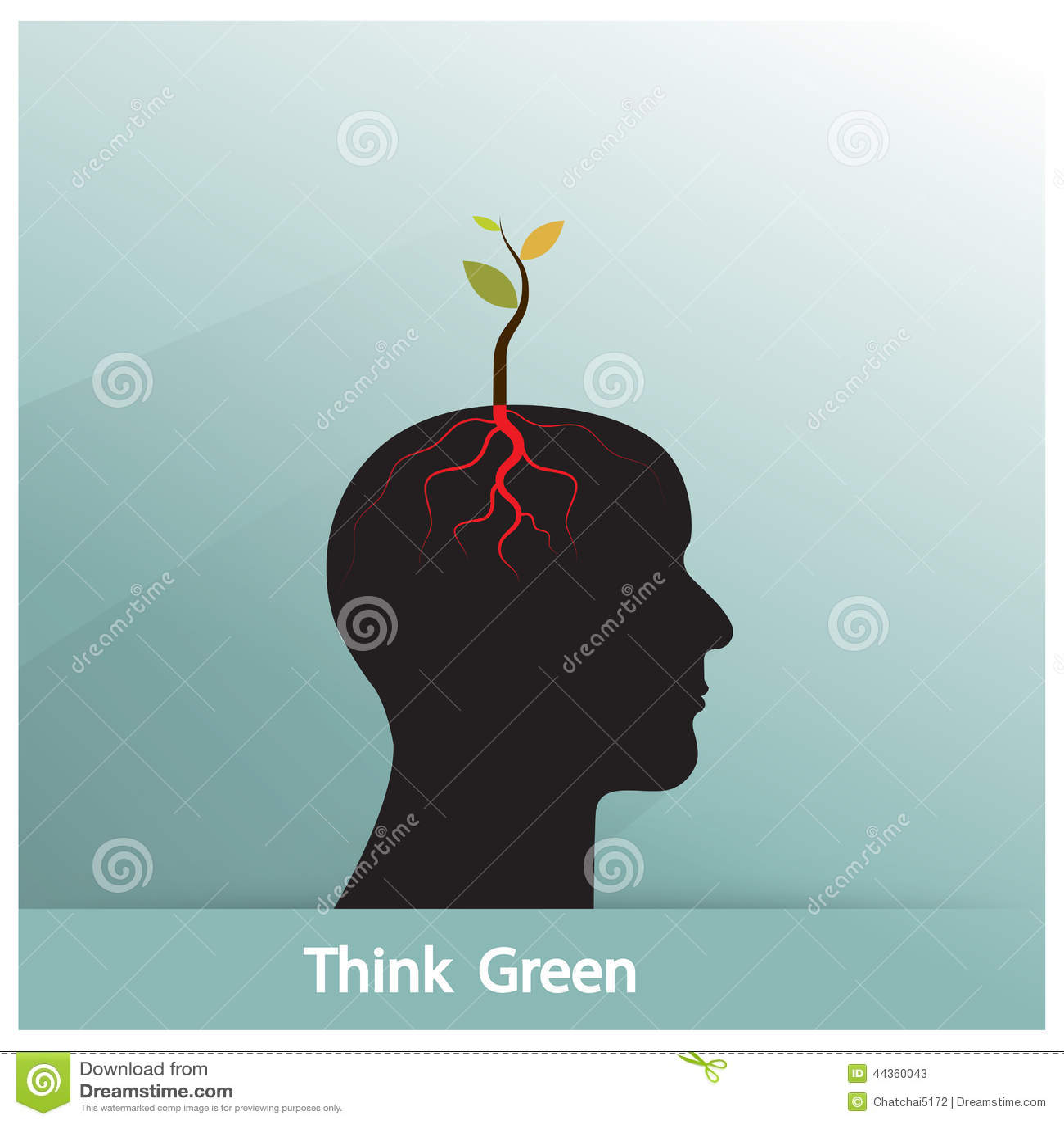Pensi il concetto verde L albero del tiro verde di idea si sviluppa su symb umano