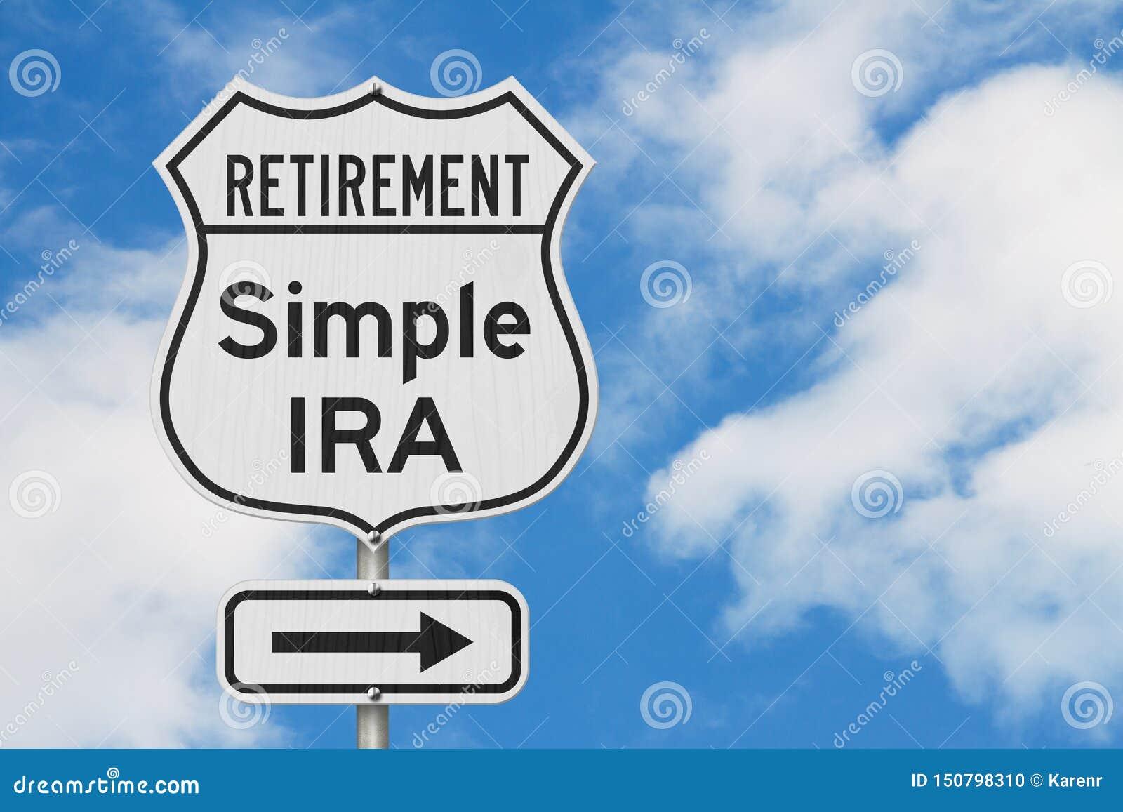Pensionamento con l itinerario semplice di piano di IRA su un segnale stradale della strada principale di U.S.A.