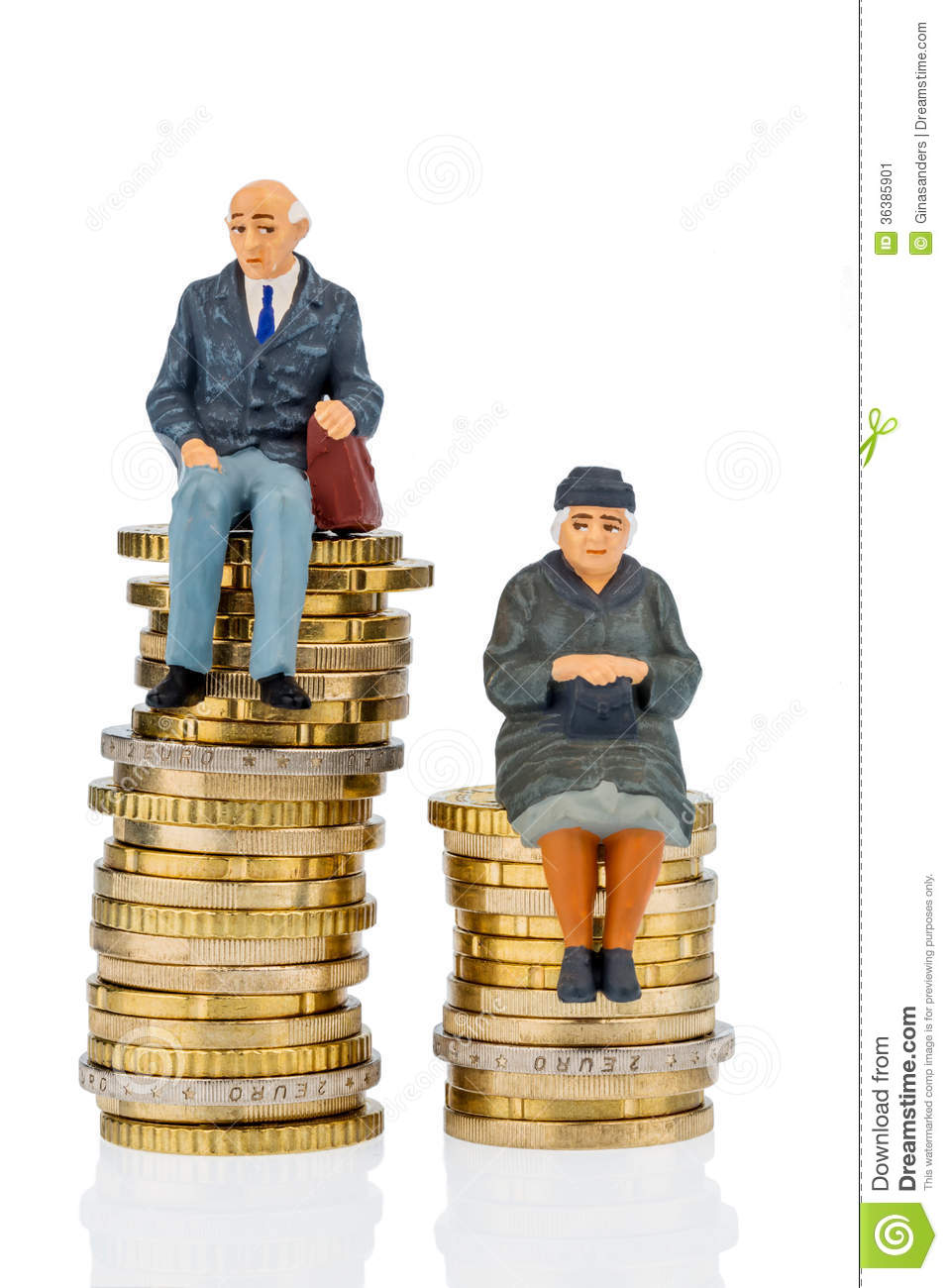 pensioners and pensioner on money stack stock image