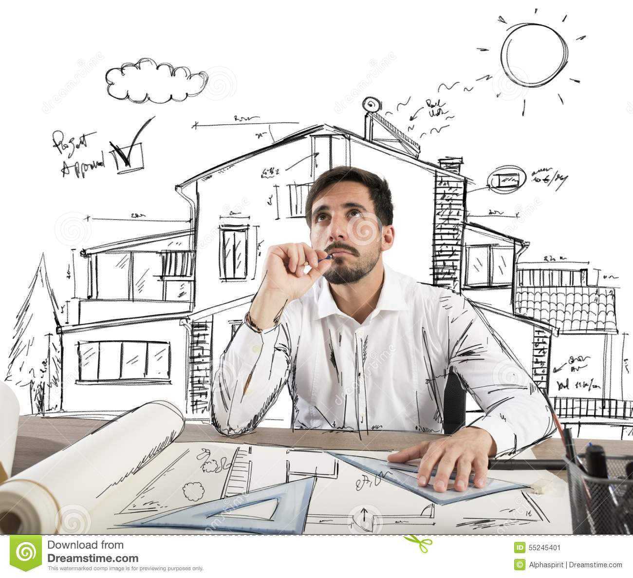 Pensive architect stock image image of architect draw for Designer or architect