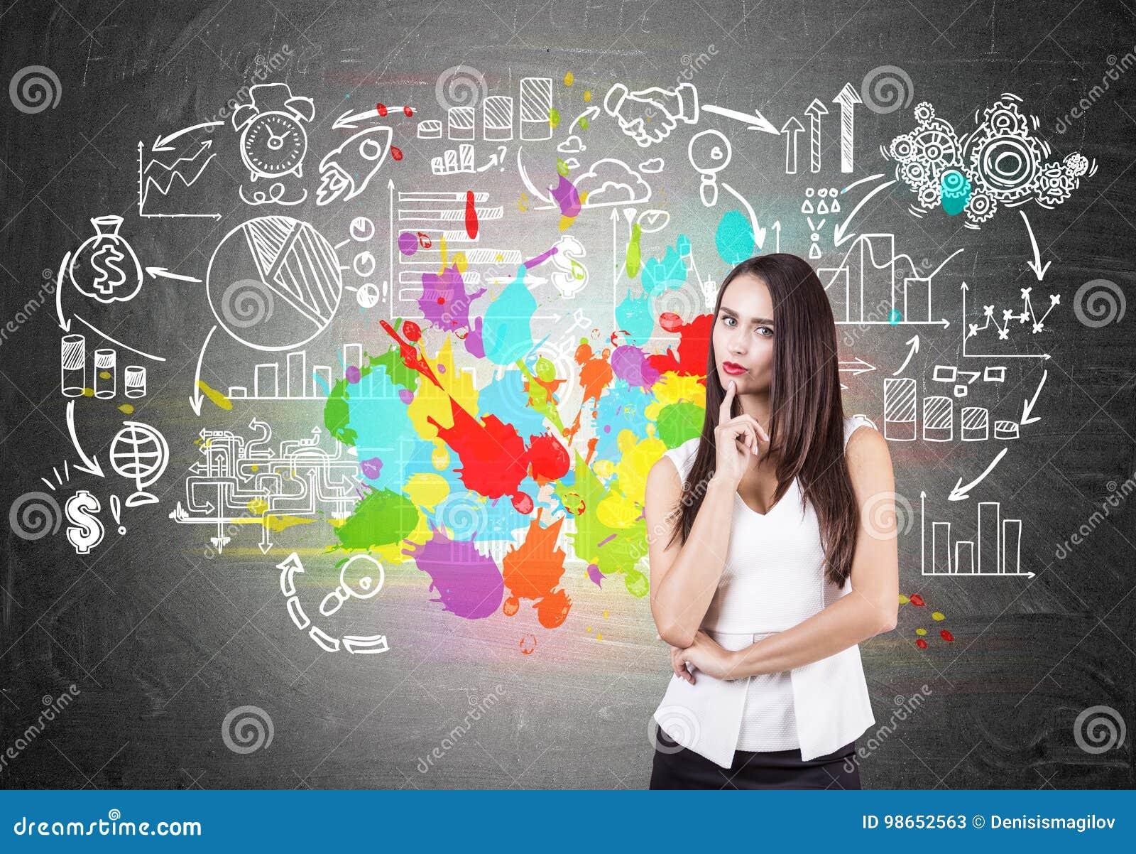 Pensive businesswoman, colorful business plan