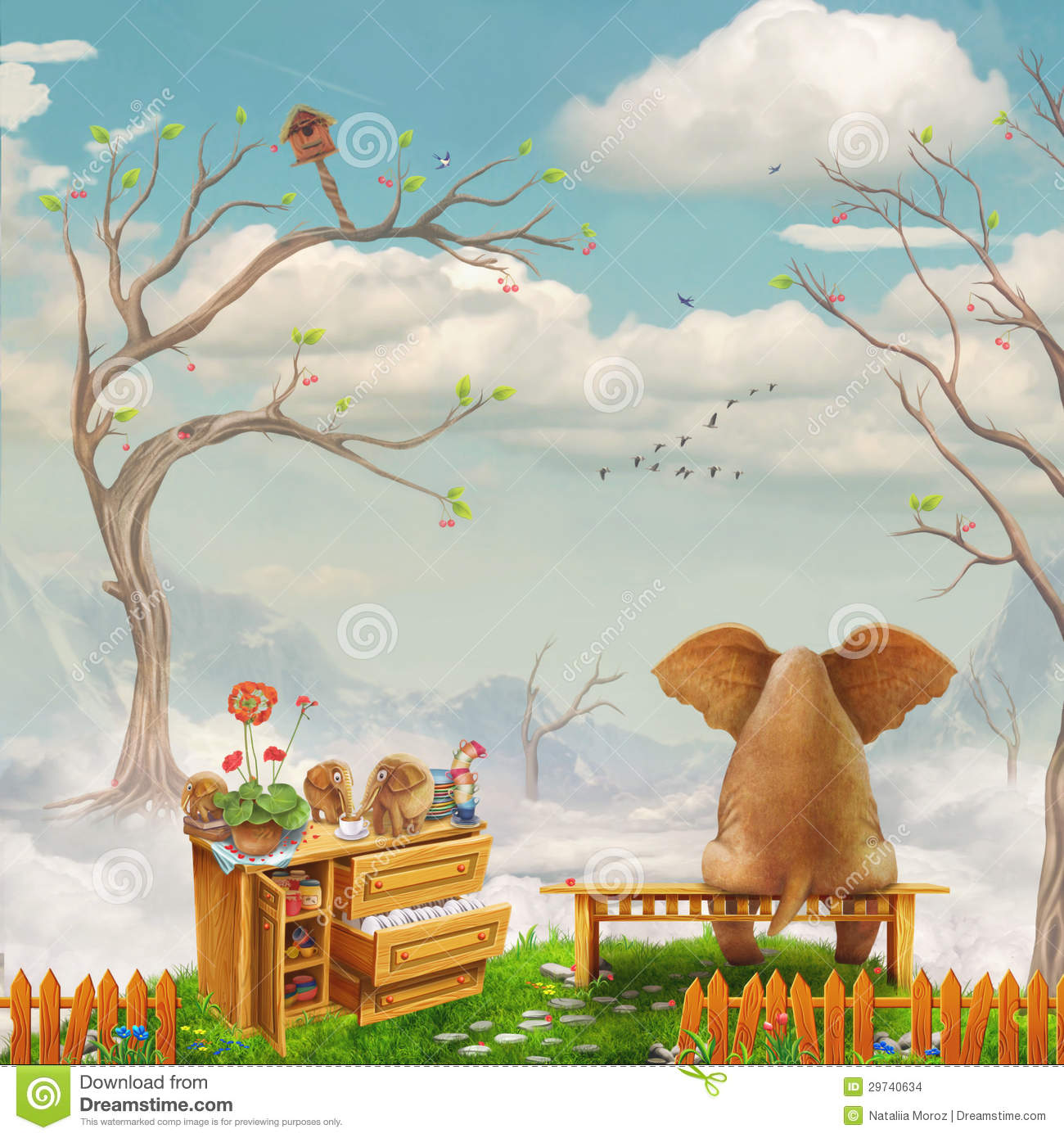 Elephant on a bench in the sky